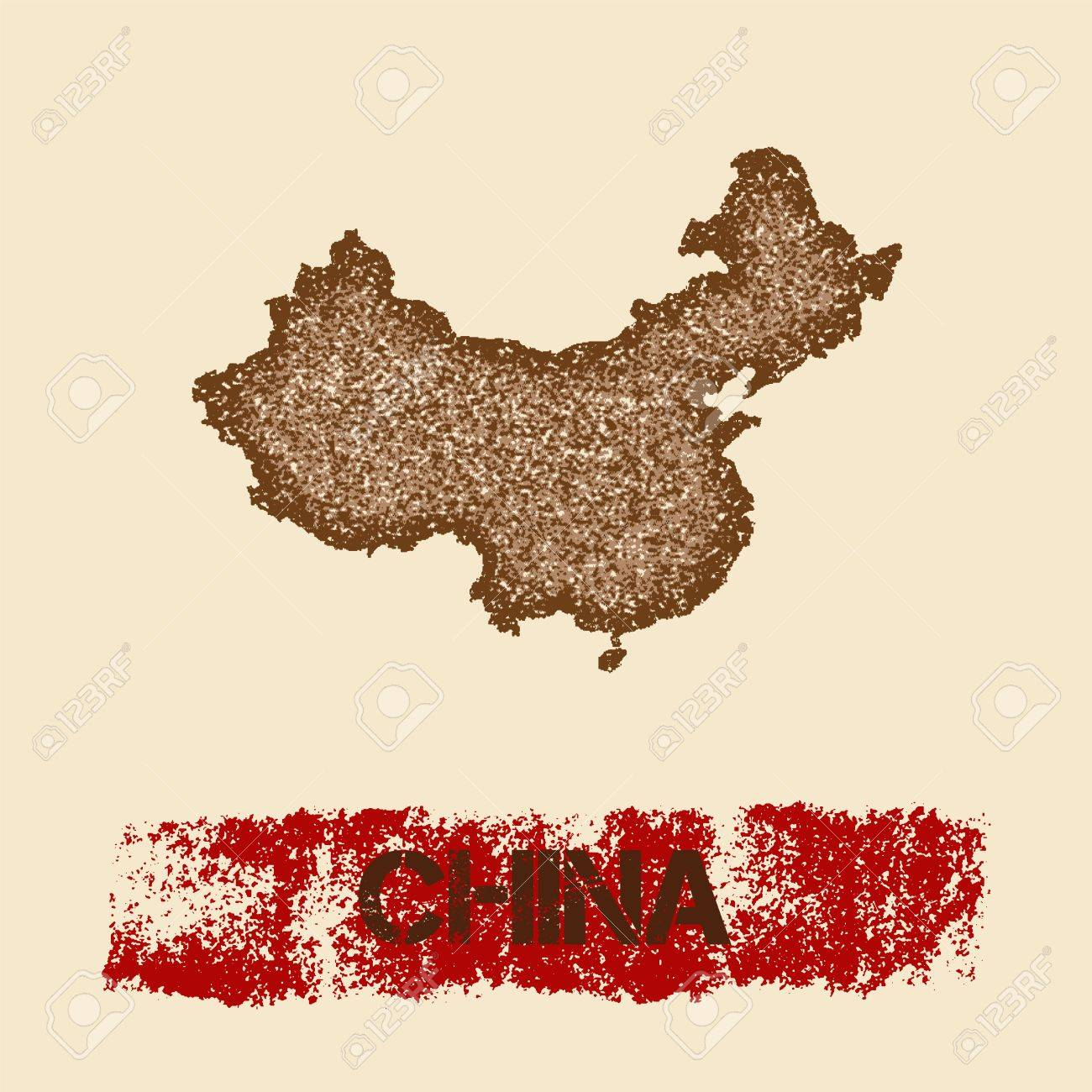 China Map Poster.China Distressed Map Grunge Patriotic Poster With Textured Country