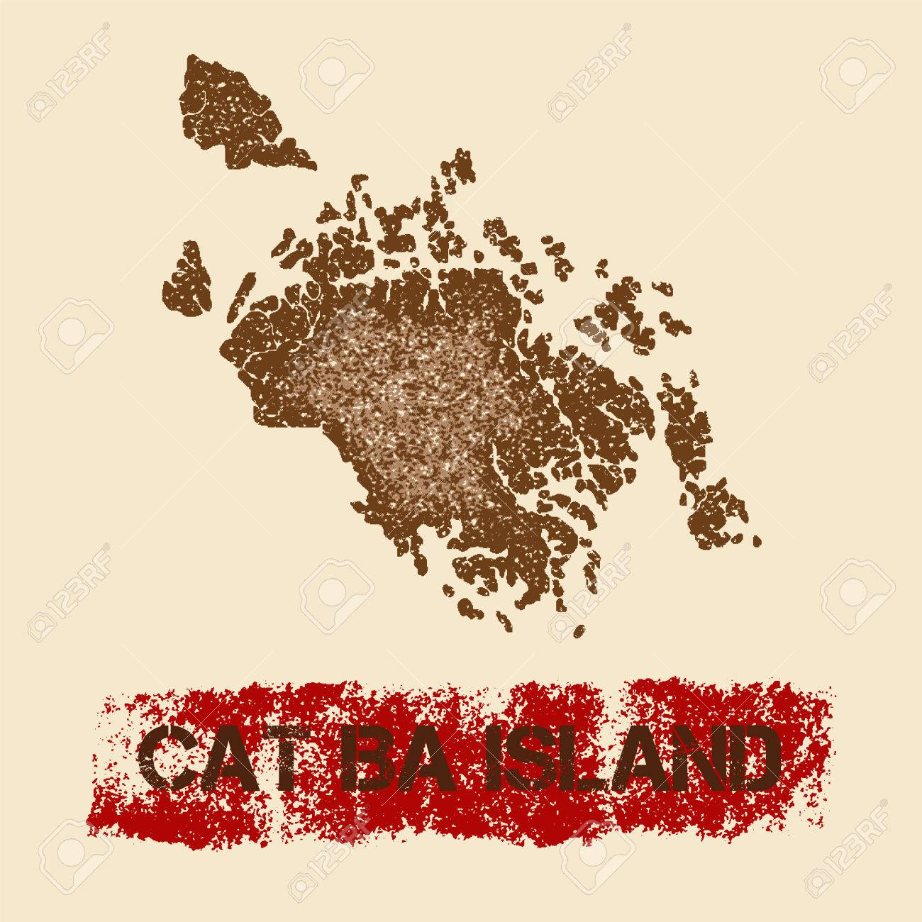 Cat Ba Island distressed map  Grunge patriotic poster with textured