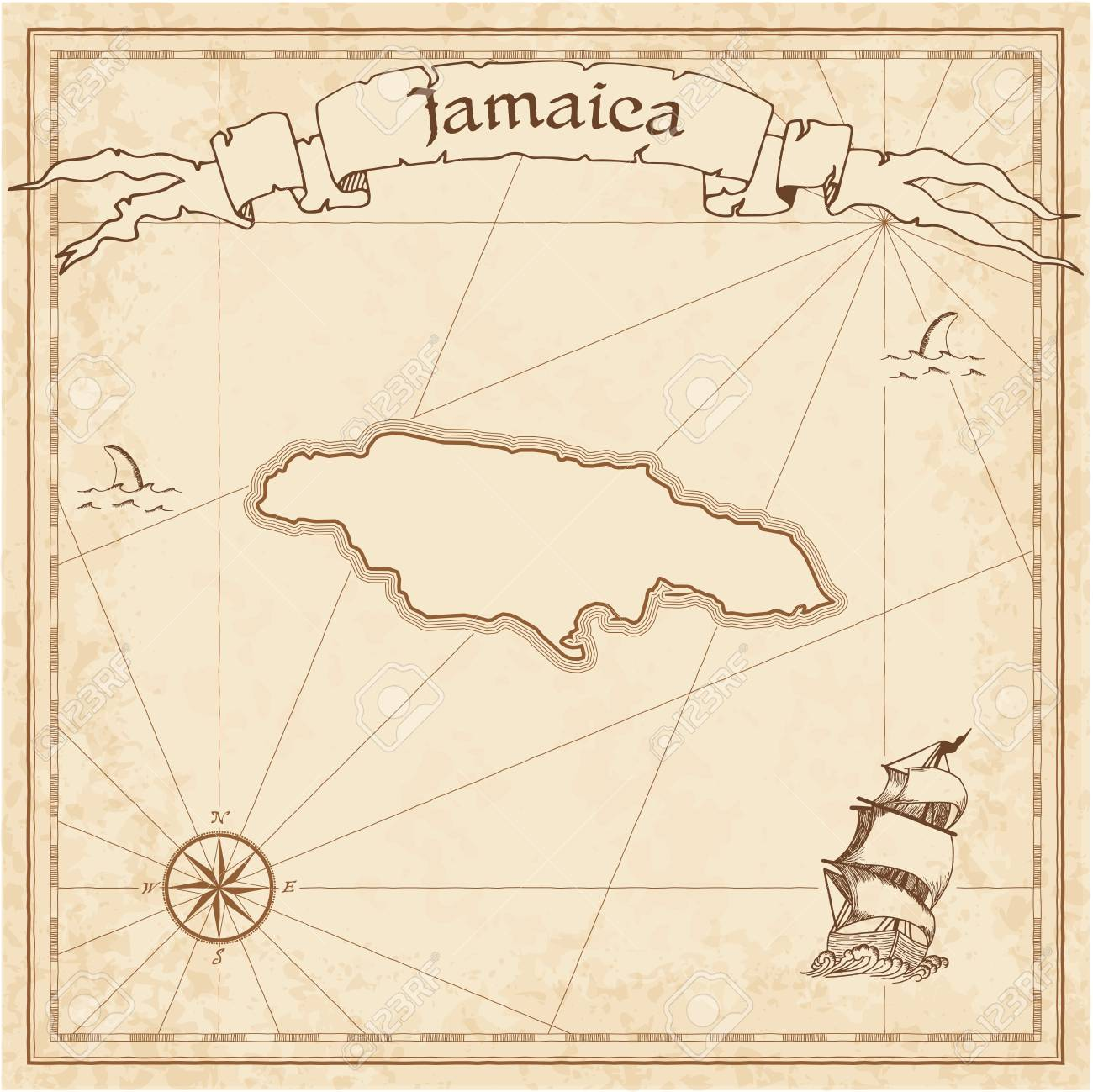 Jamaica Old Treasure Map Sepia Engraved Template Of Pirate Stylized On