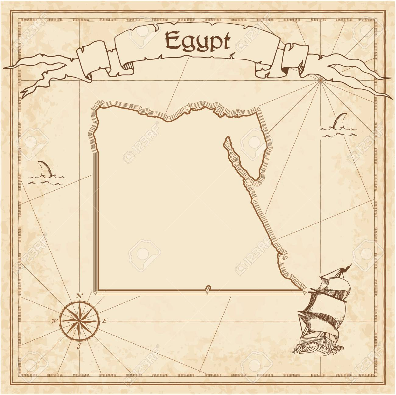 egypt old treasure map sepia engraved template of pirate map