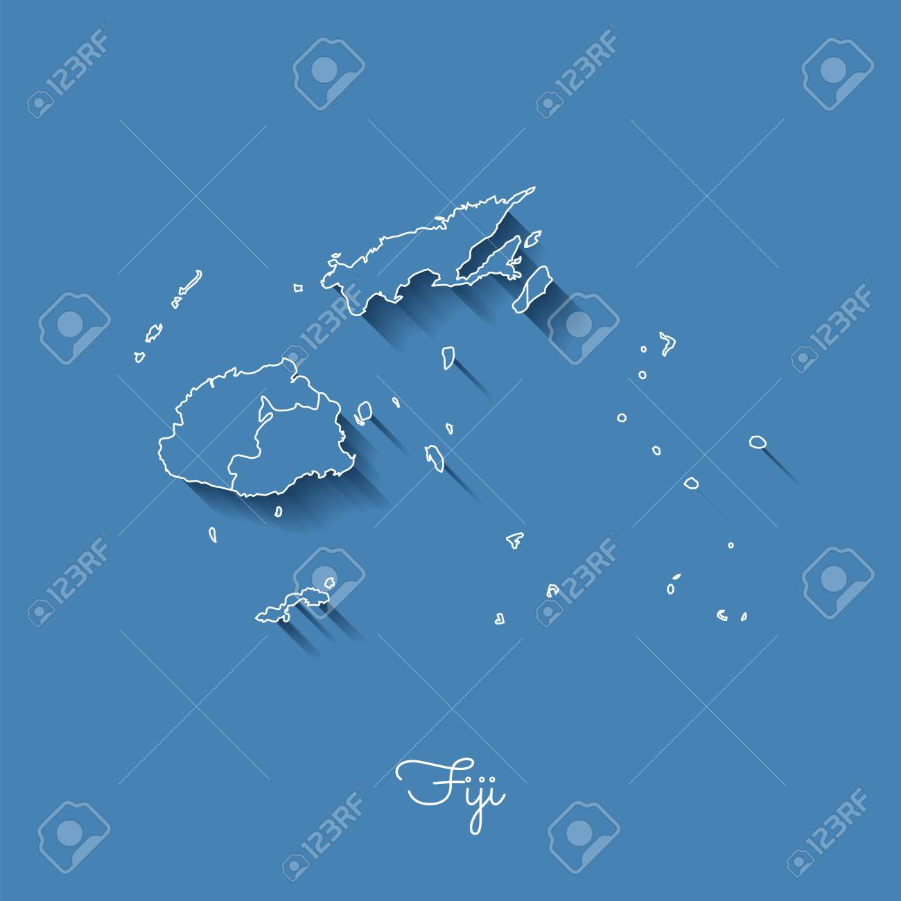 Fiji Region Map: Blue With White Outline And Shadow On Blue ...