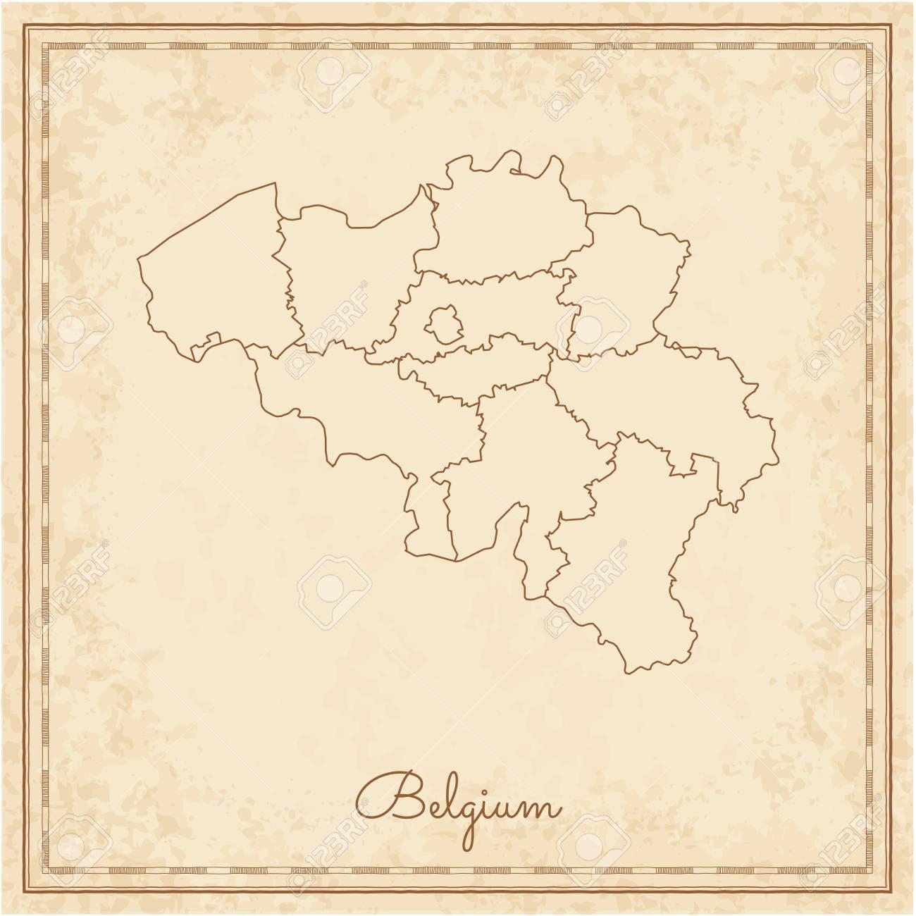 belgium region map stilyzed old pirate parchment imitation detailed map of belgium regions