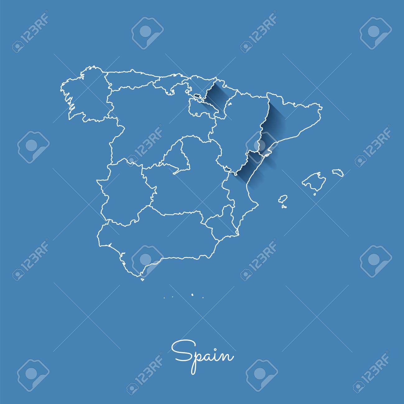 Spain Region Map: Blue With White Outline And Shadow On Blue ...