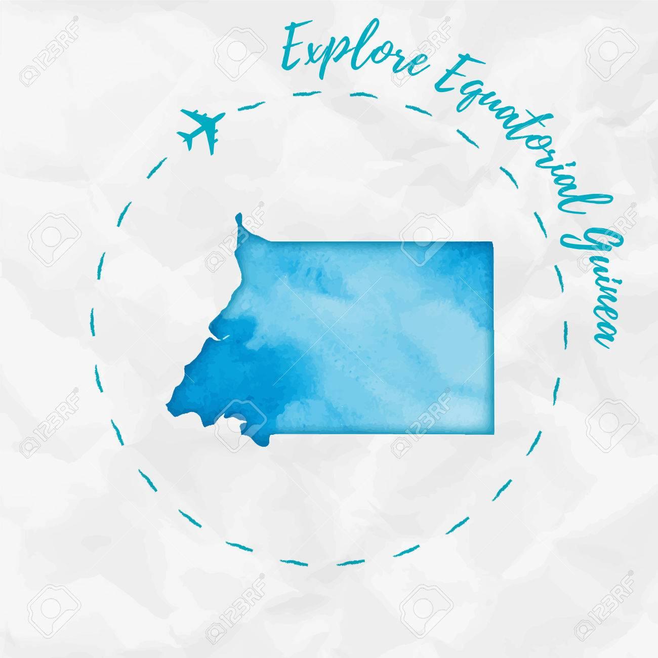 Equatorial Guinea Watercolor Map In Turquoise Colors. Explore ...