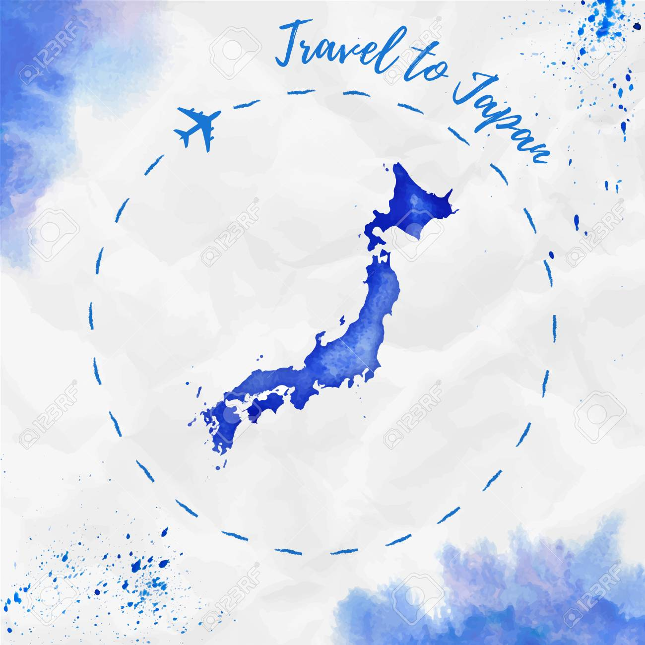 Japan Watercolor Map In Blue Colors Travel To Japan Poster With Royalty Free Cliparts Vectors And Stock Illustration Image 78135423