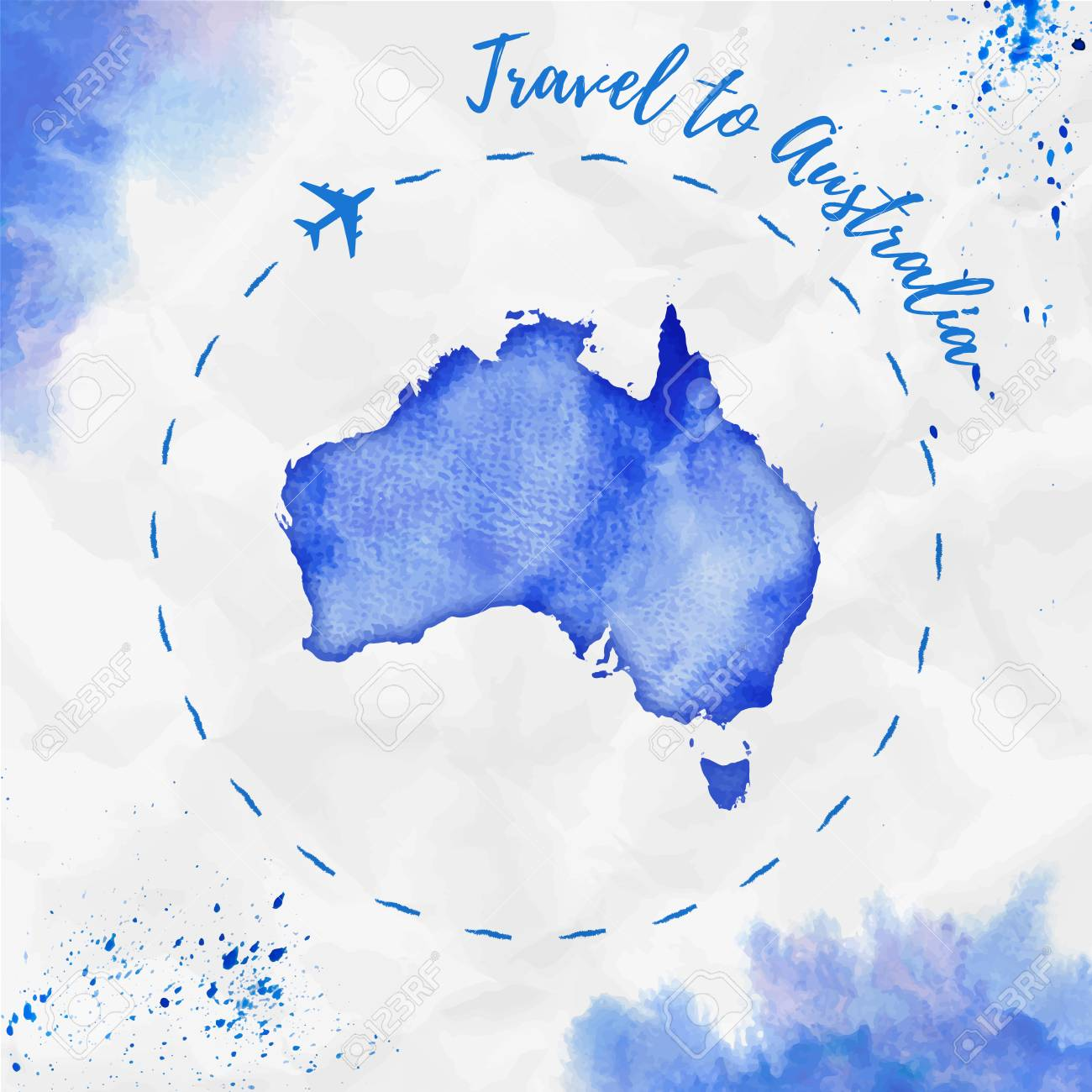 australia watercolor map in blue colors travel to australia poster with airplane trace and handpainted