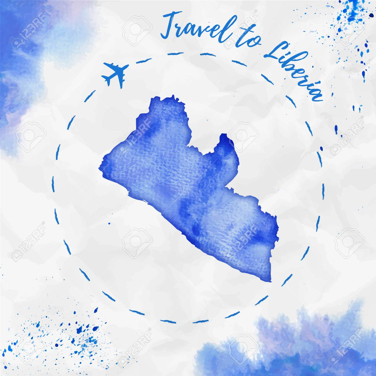Liberia watercolor map in blue colors travel to liberia poster liberia watercolor map in blue colors travel to liberia poster with airplane trace and handpainted freerunsca Gallery