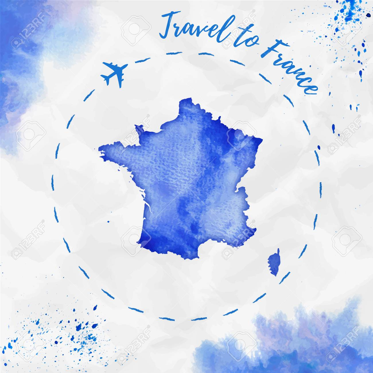 Map Of France Poster.France Watercolor Map In Blue Colors Travel To France Poster