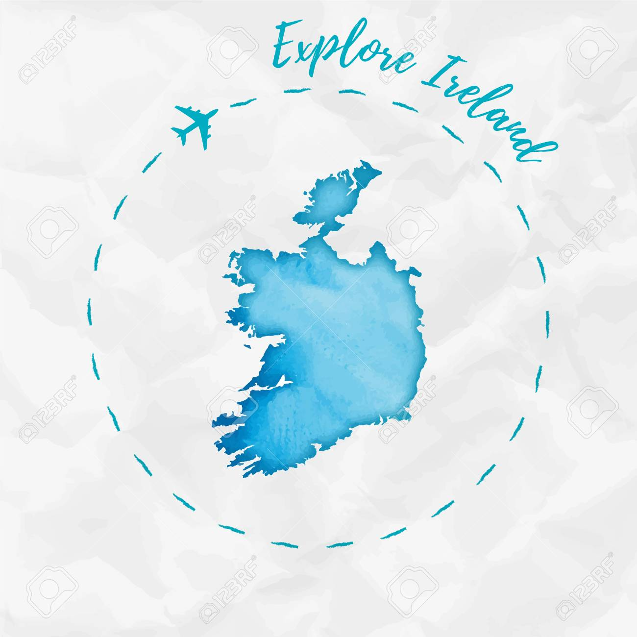 Map Of Ireland Poster.Ireland Watercolor Map In Turquoise Colors Explore Ireland Poster