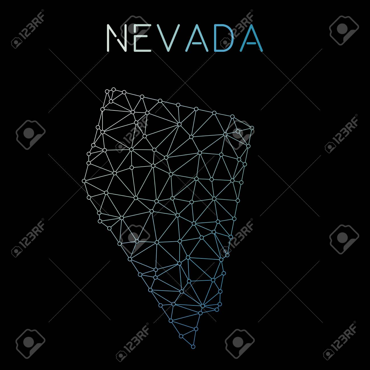 Nevada network map  Abstract polygonal US state map design  Network