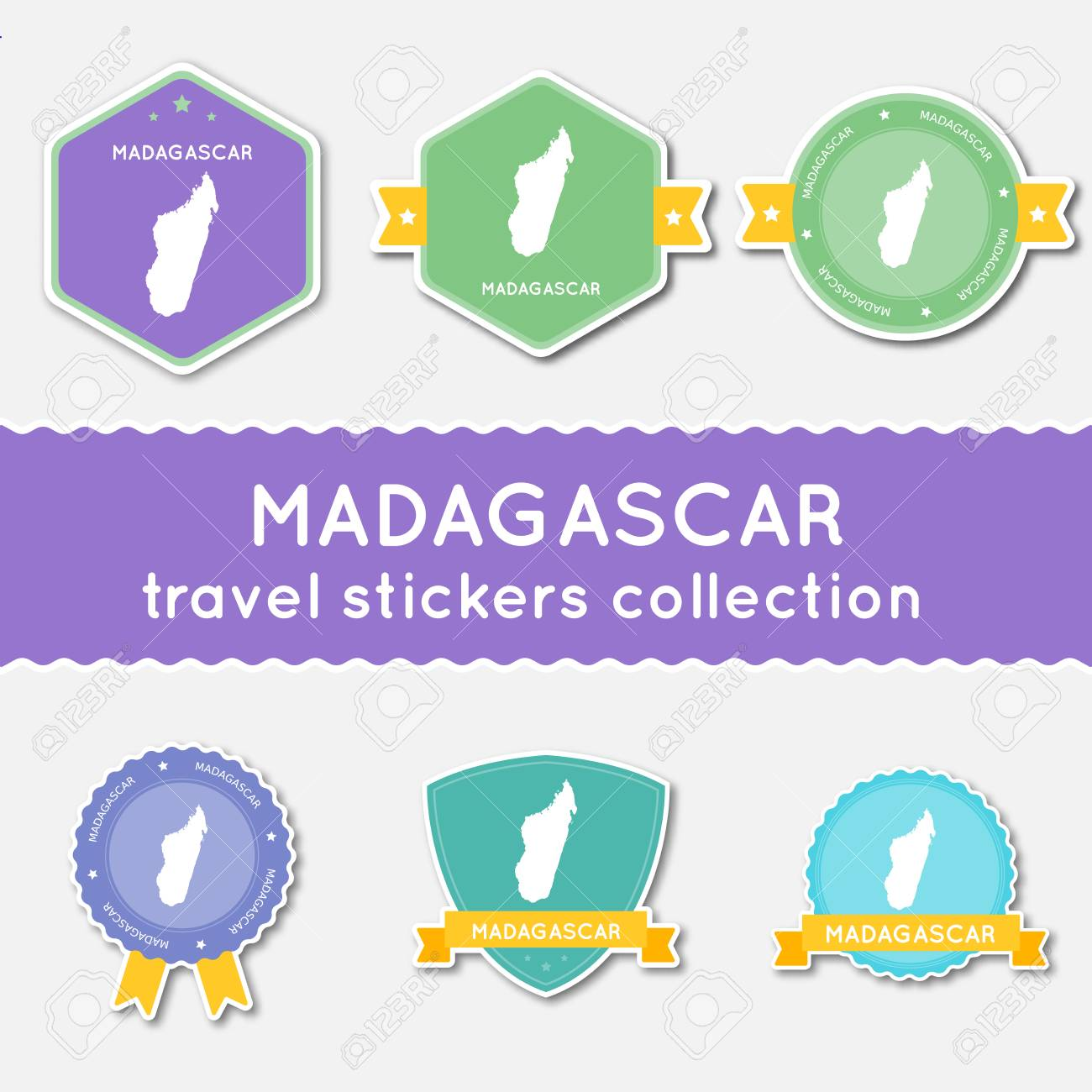 Madagascar Travel Stickers Collection Big Set Of Stickers With