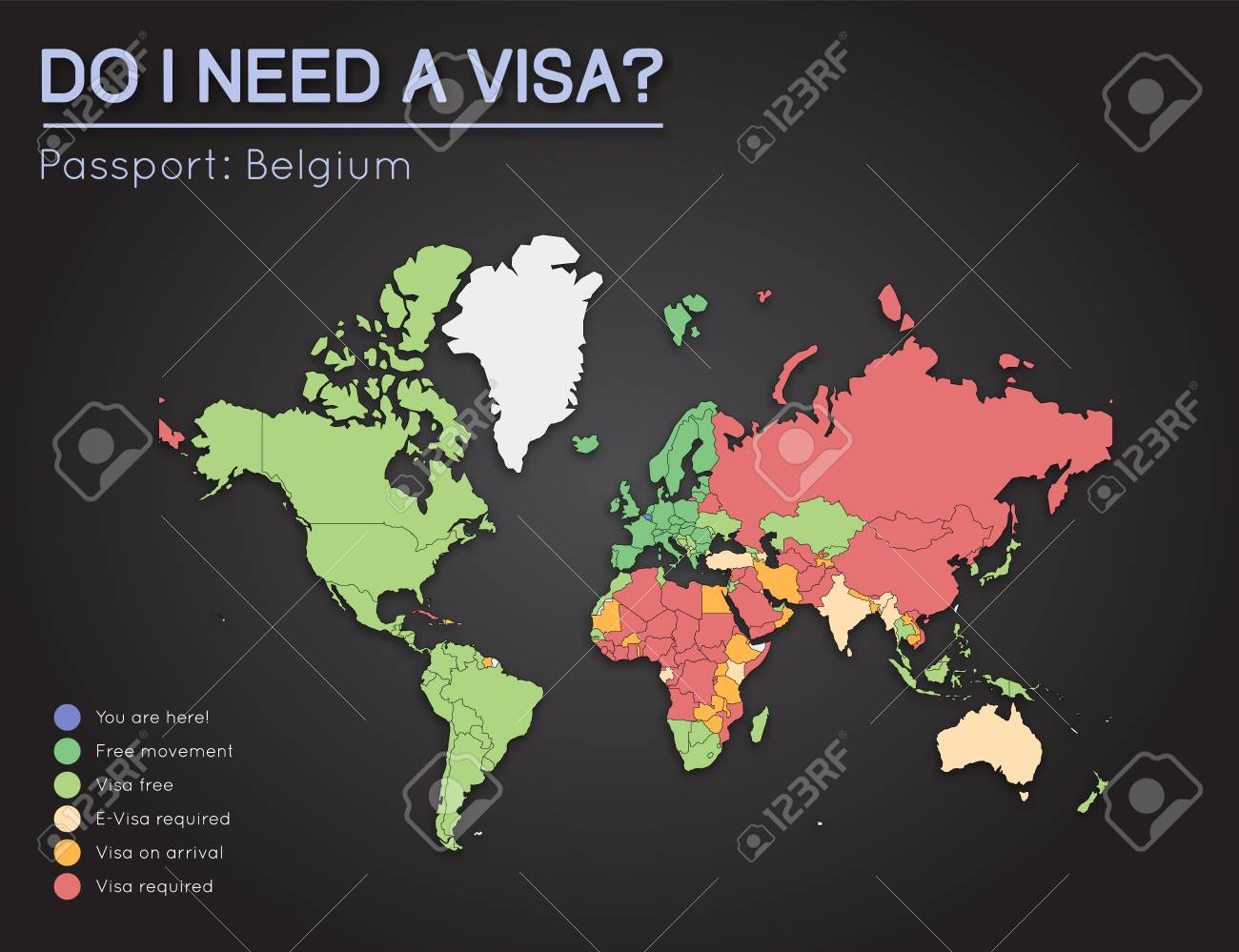 Visas information for kingdom of belgium passport holders year vector visas information for kingdom of belgium passport holders year 2017 world map infographics showing visa requirements for all countries gumiabroncs Gallery