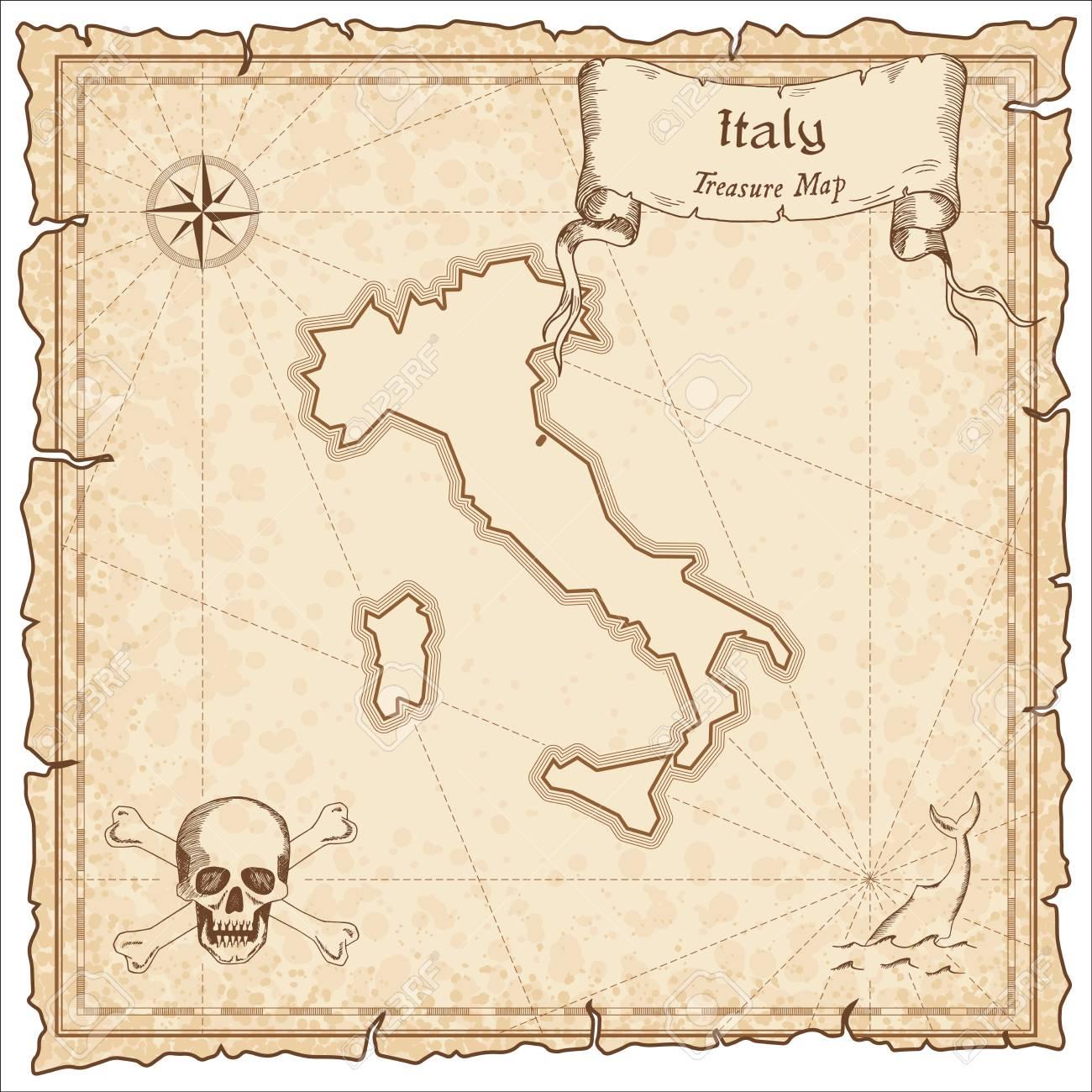 Carte Italie Ancienne.Italie Carte Pirate Ancienne Gravure En Sepia De La Carte Du Tresor Carte De Pirate Stylisee Sur Papier Vintage