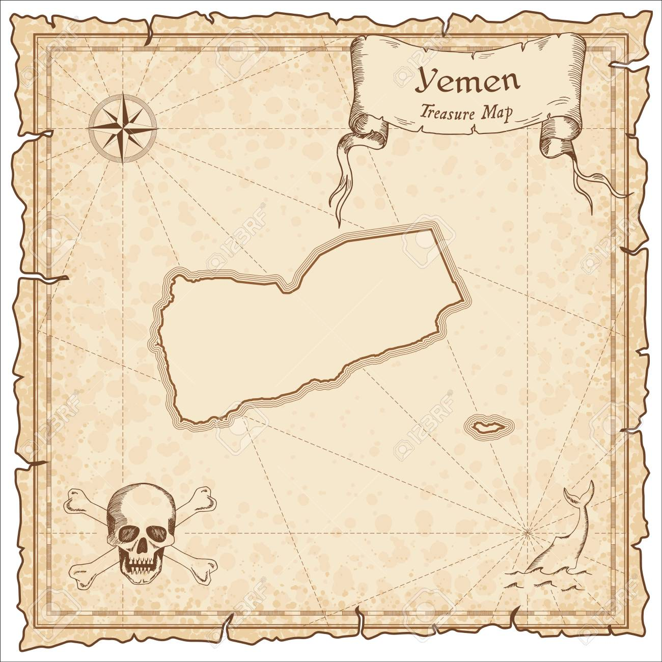 Yemen Old Pirate Map. Sepia Engraved Template Of Treasure Map ...