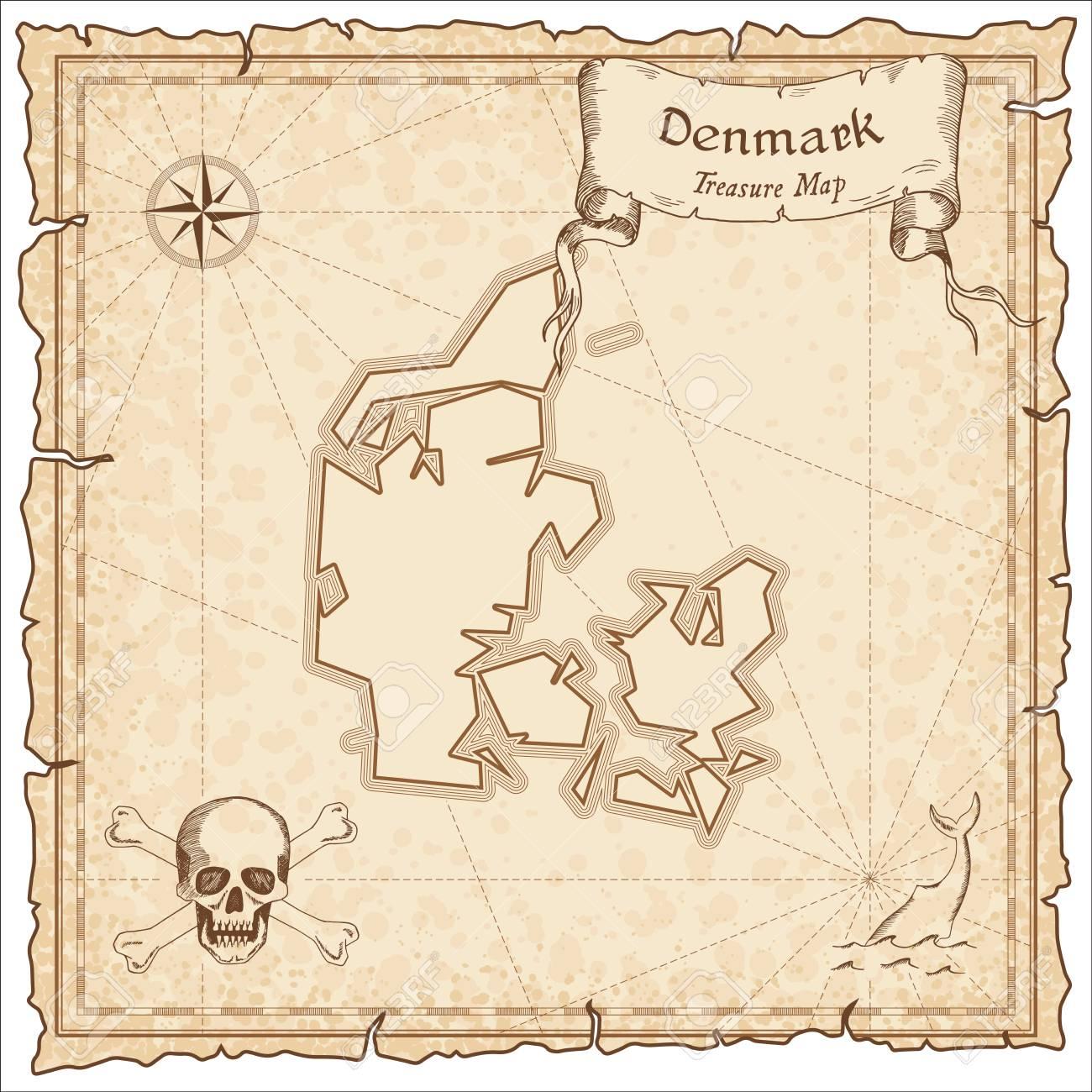 Favorit Dänemark Alte Piraten Karte. Sepia Gravierte Vorlage Der BY99