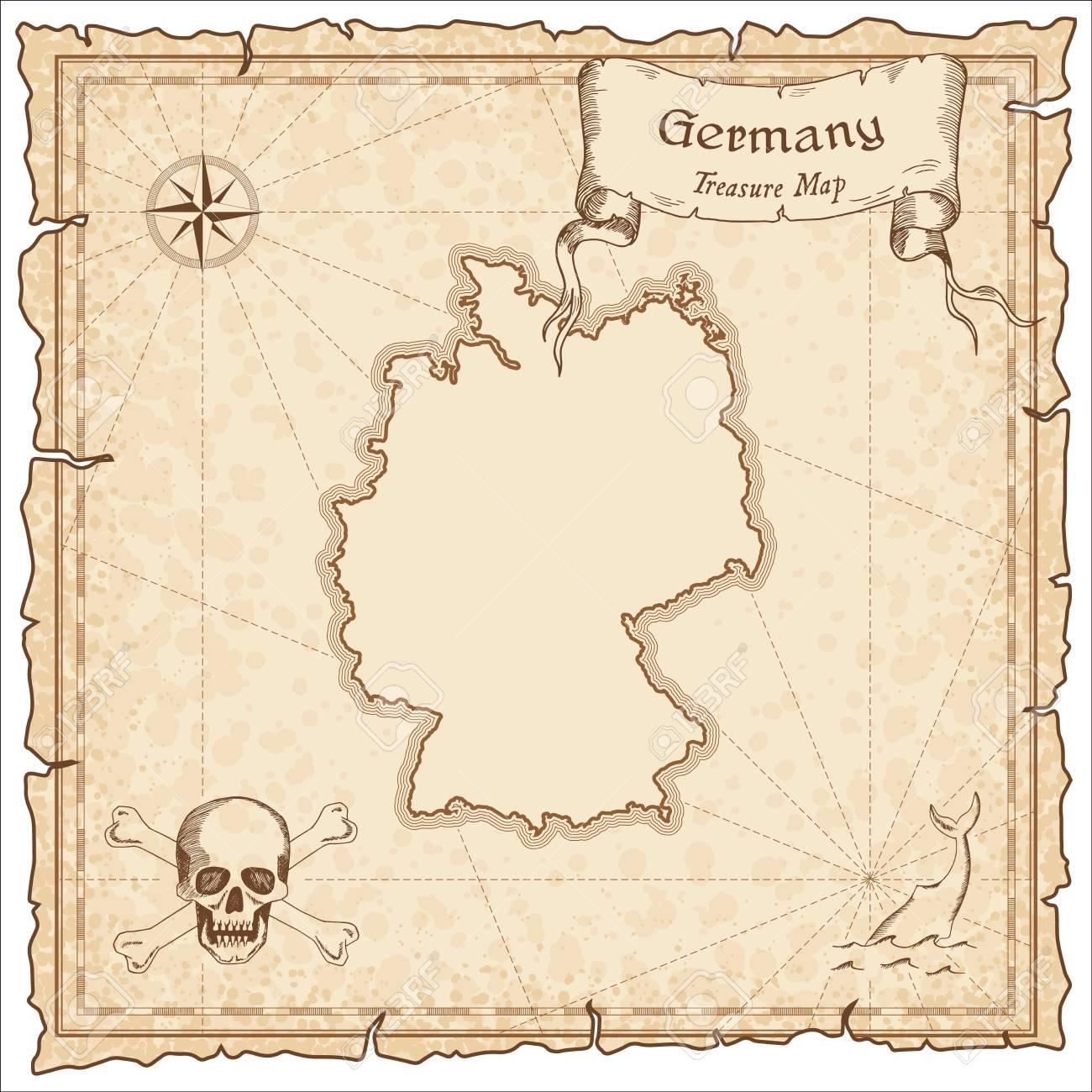 Une Carte Au Tresor En Allemand.Ancienne Carte De Pirate En Allemagne Sepia Grave Modele De Carte Au Tresor Carte De Pirate Stylisee Sur Papier Vintage