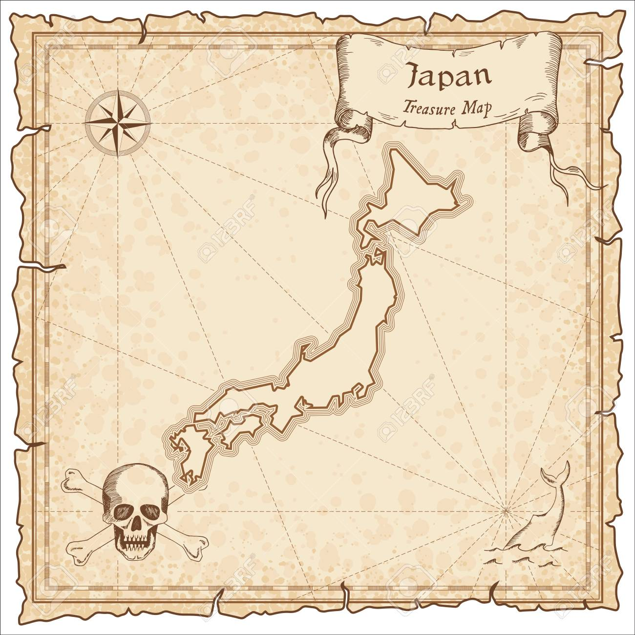 Japan Old Pirate Map Sepia Engraved Template Of Treasure Stylized On