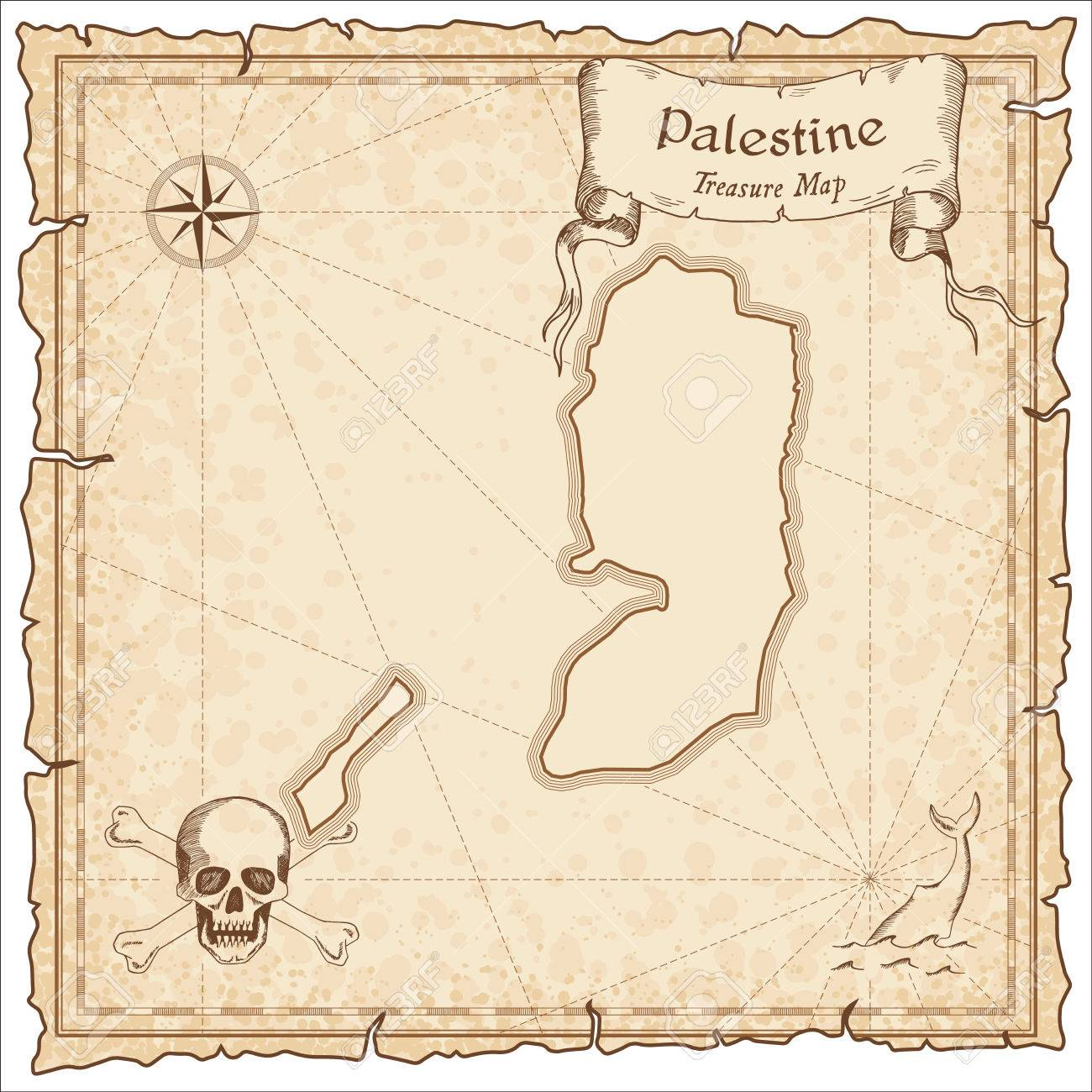 palestine old pirate map sepia engraved template of treasure
