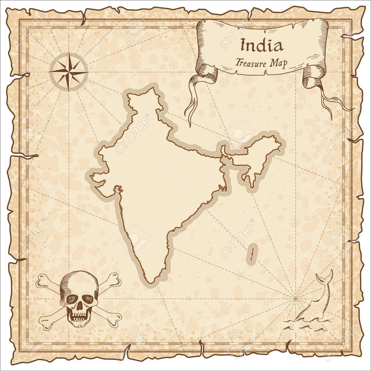 India Old Pirate Map. Sepia Engraved Template Of Treasure Map ...