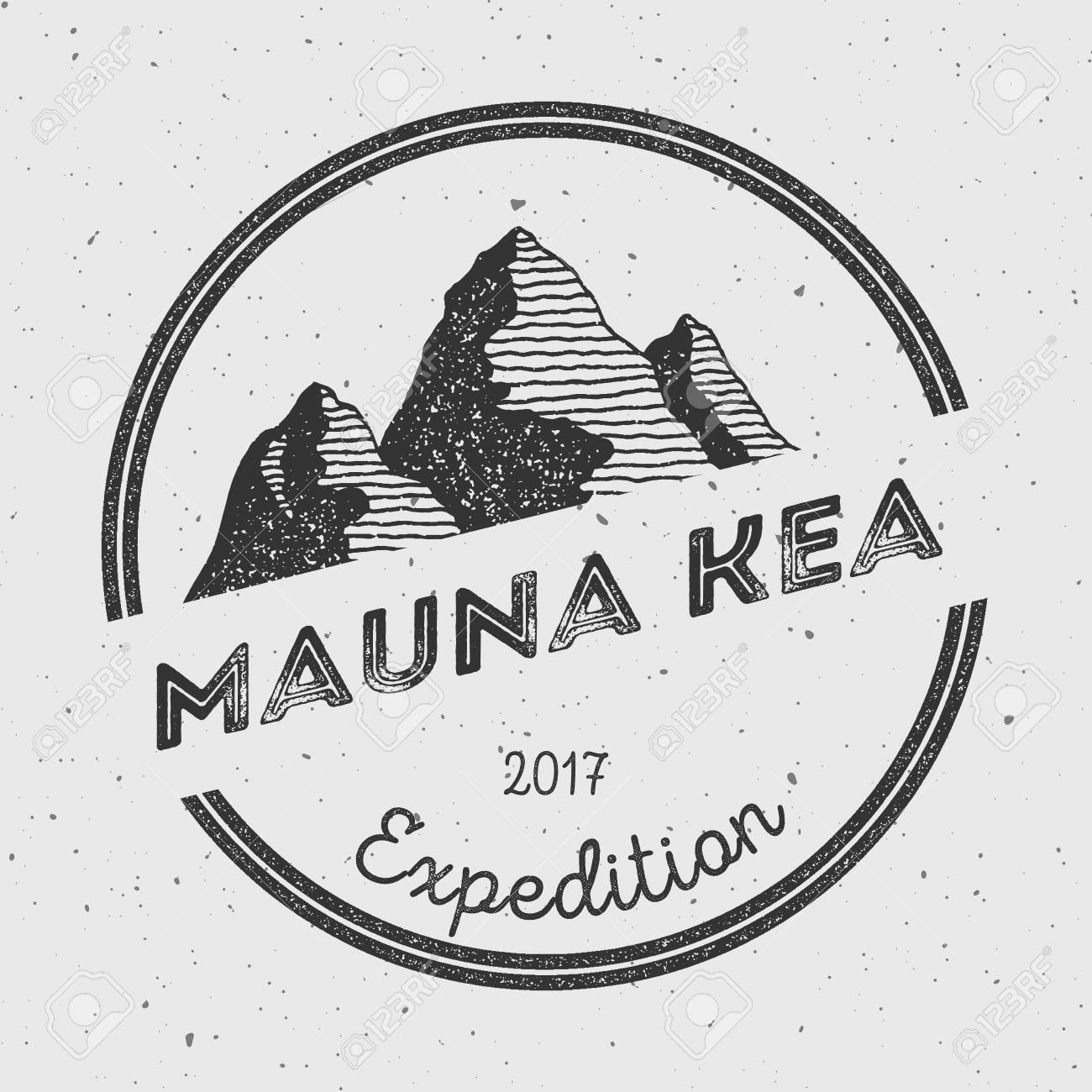 Mauna Kea in Hawaii, USA outdoor adventure logo  Round expedition