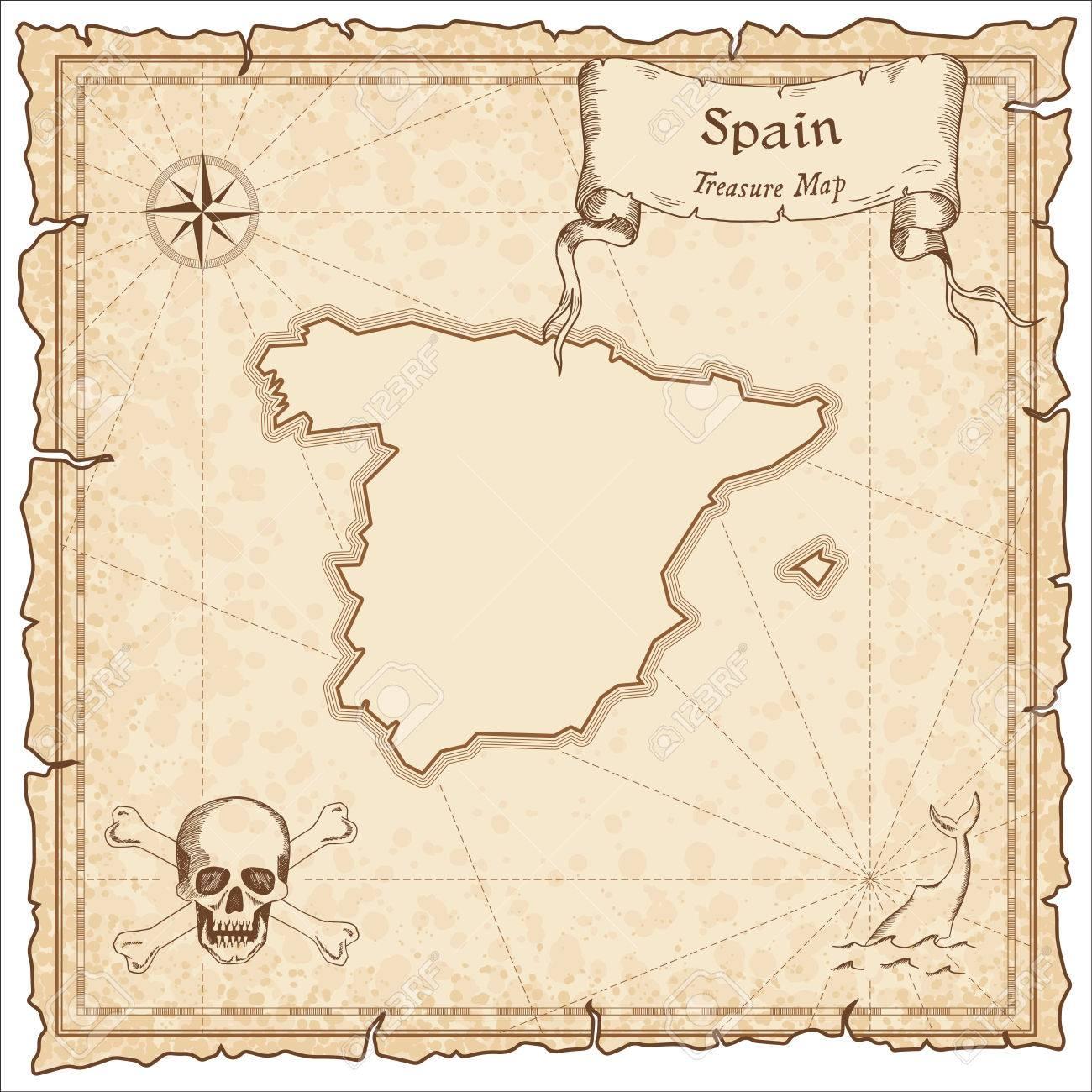 España Antiguo Mapa De Piratas. Sepia Plantilla Grabada De Mapa Del ...