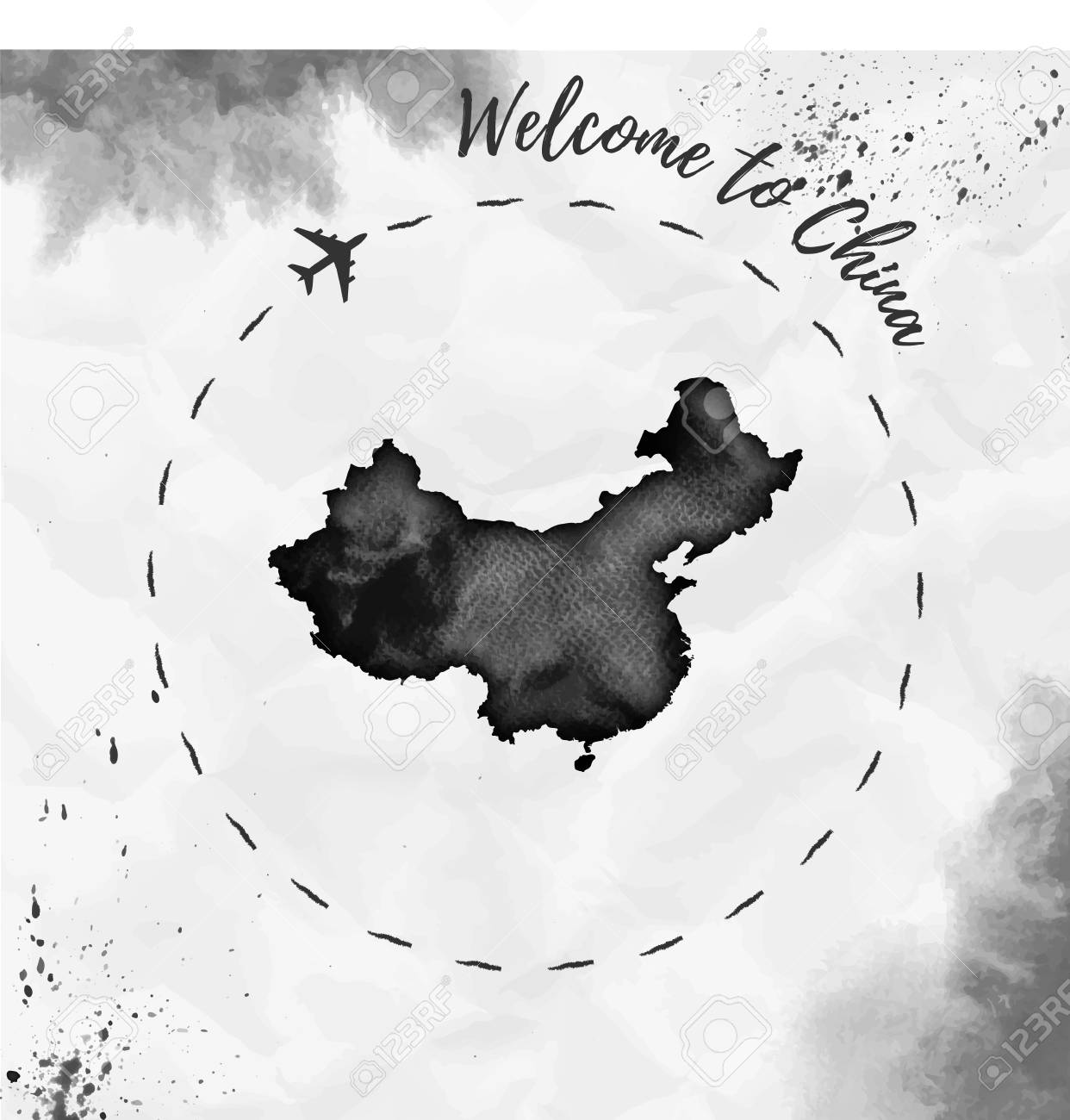 China Map Poster.China Watercolor Map In Black Colors Welcome To China Poster