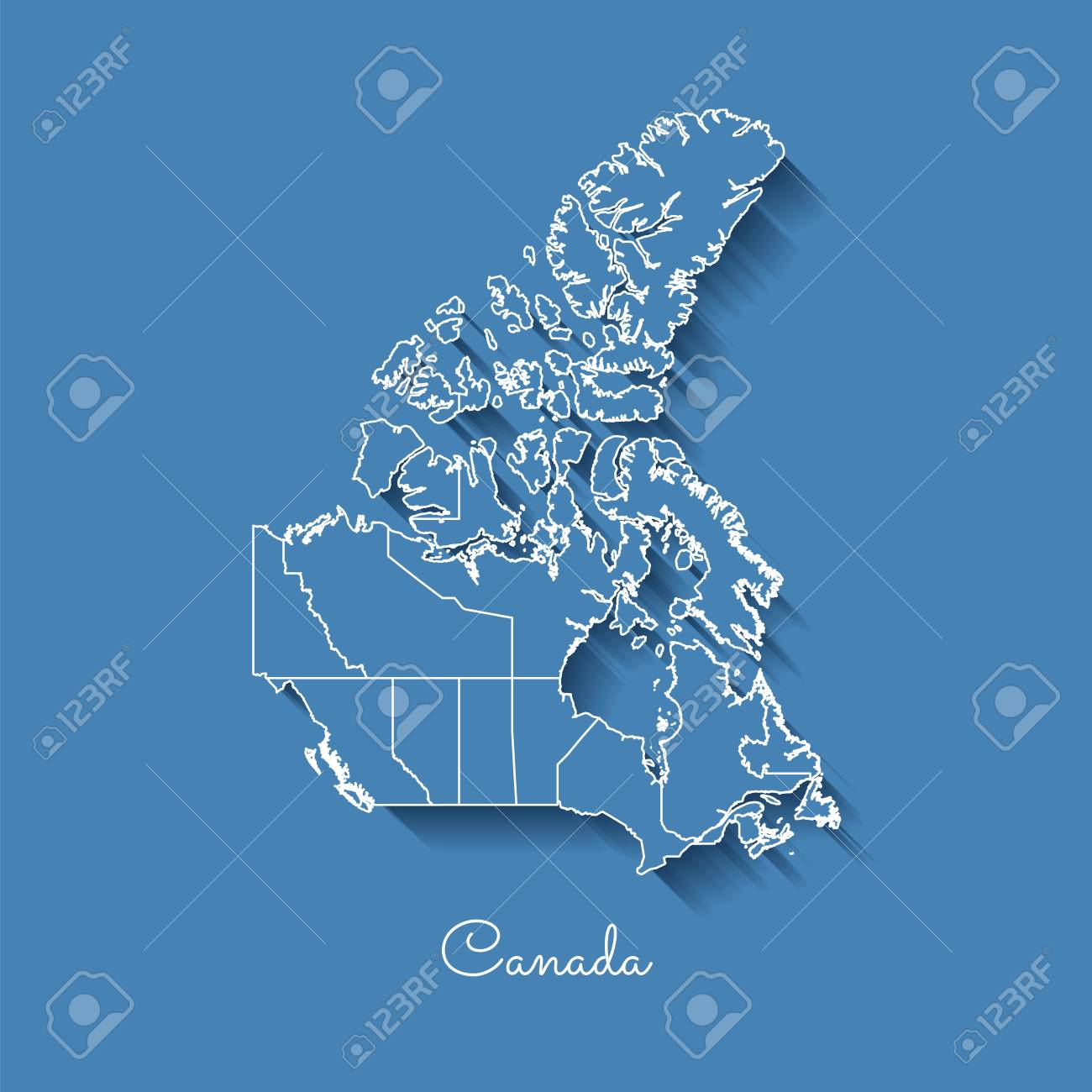 Detailed Map Of Canada.Canada Region Map Blue With White Outline And Shadow On Blue