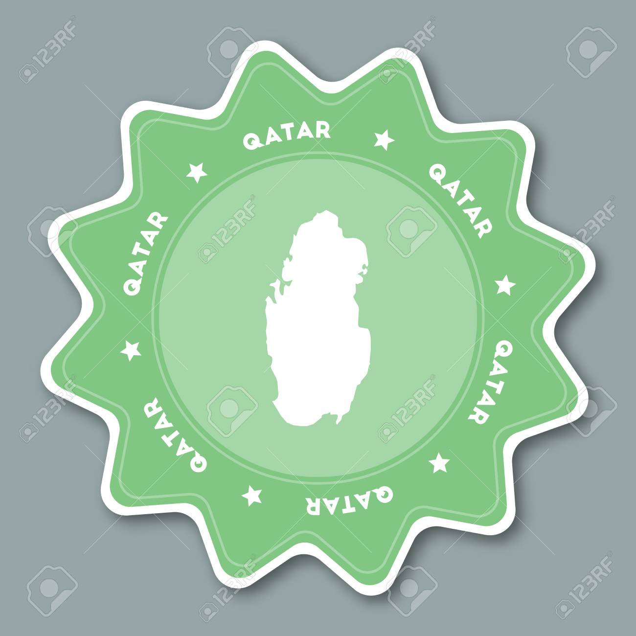 Qatar Map Sticker In Trendy Colors Star Shaped Travel Sticker