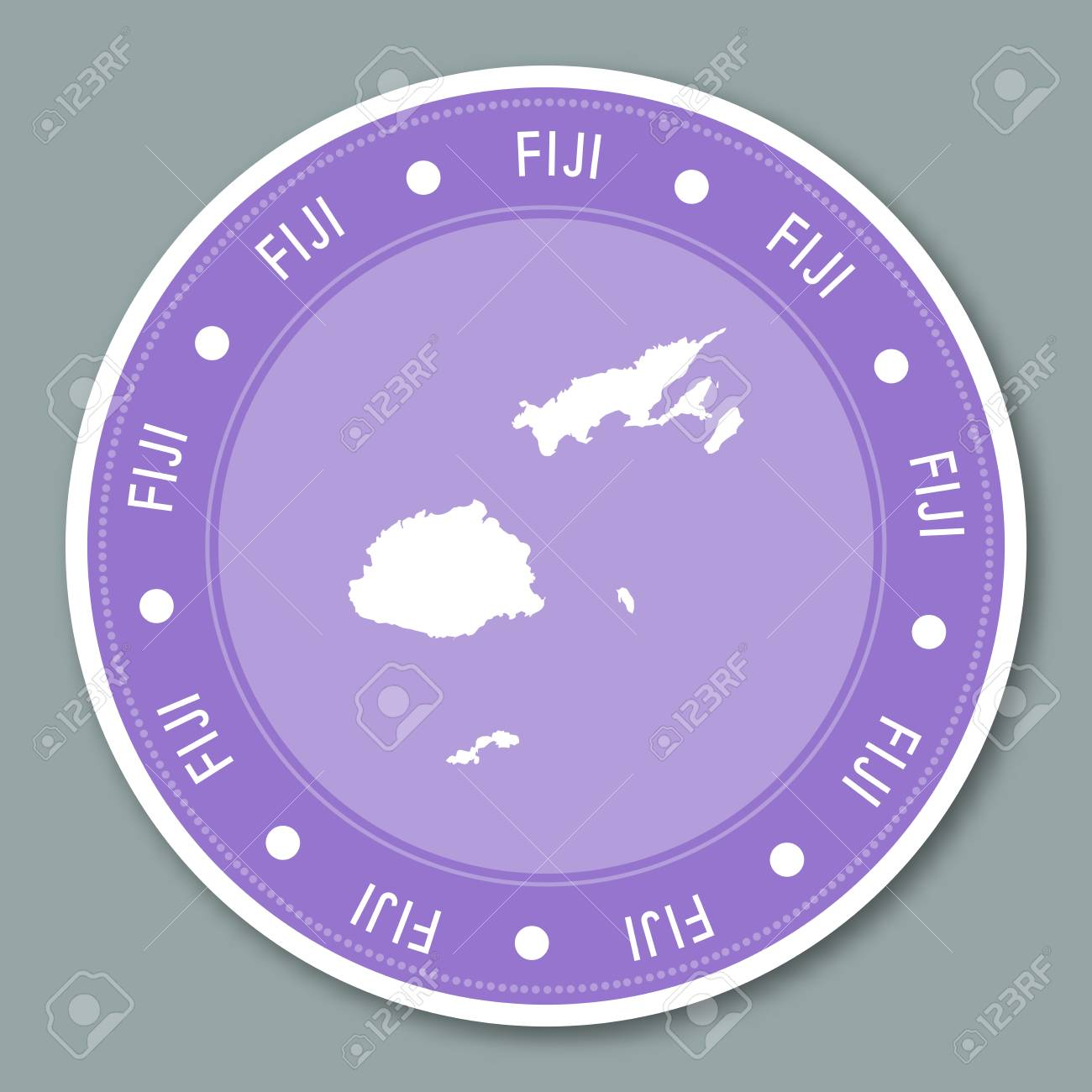 Fiji label flat sticker design. Patriotic country map round lable...