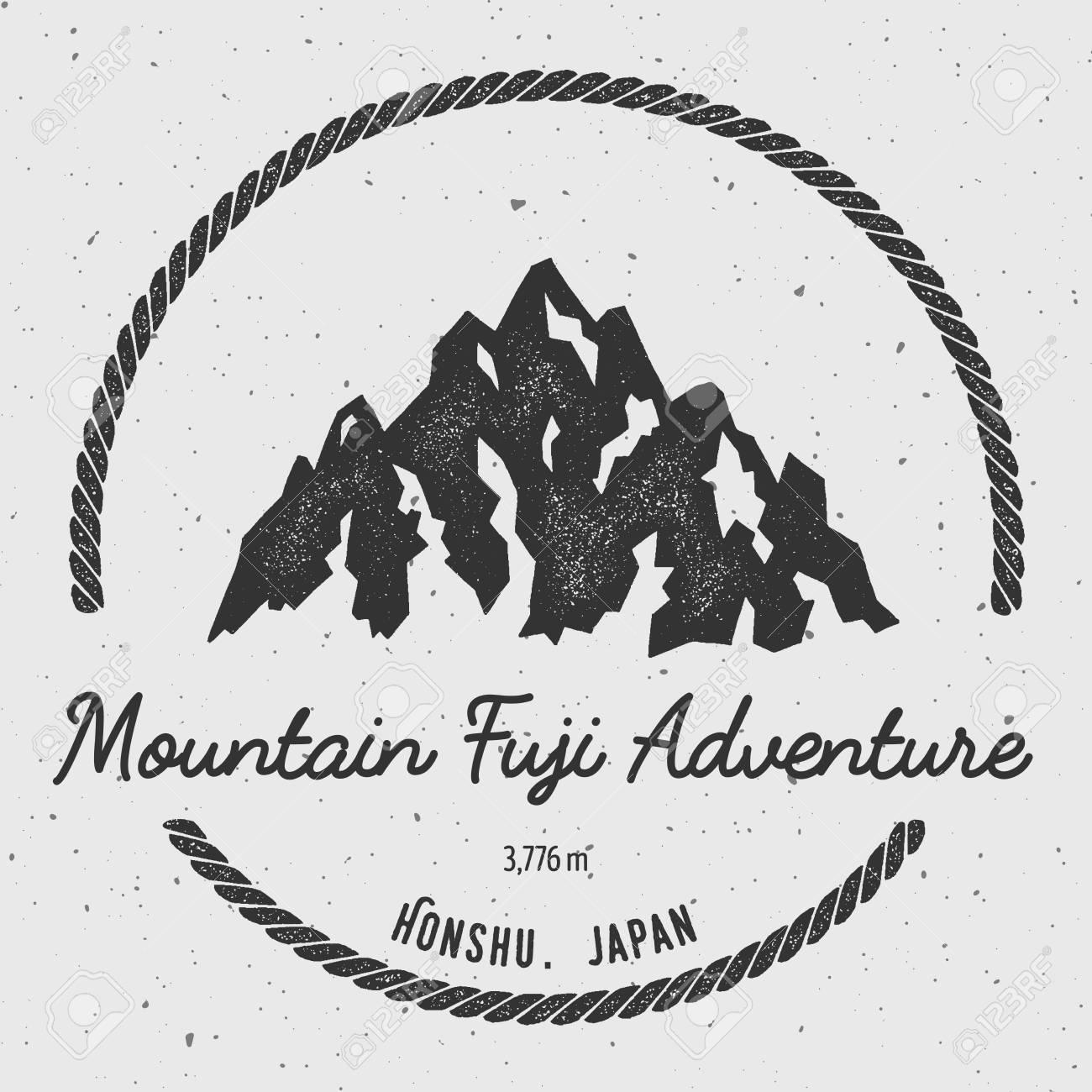 Fuji In Honshu Japan Outdoor Adventure Logo Round Hiking Vector Insignia Climbing