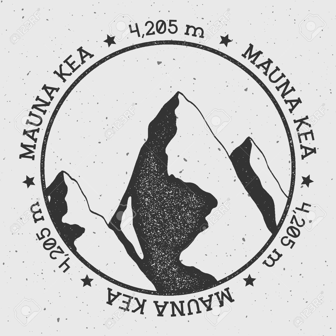 Mauna Kea in Hawaii, USA outdoor adventure logo  Round stamp