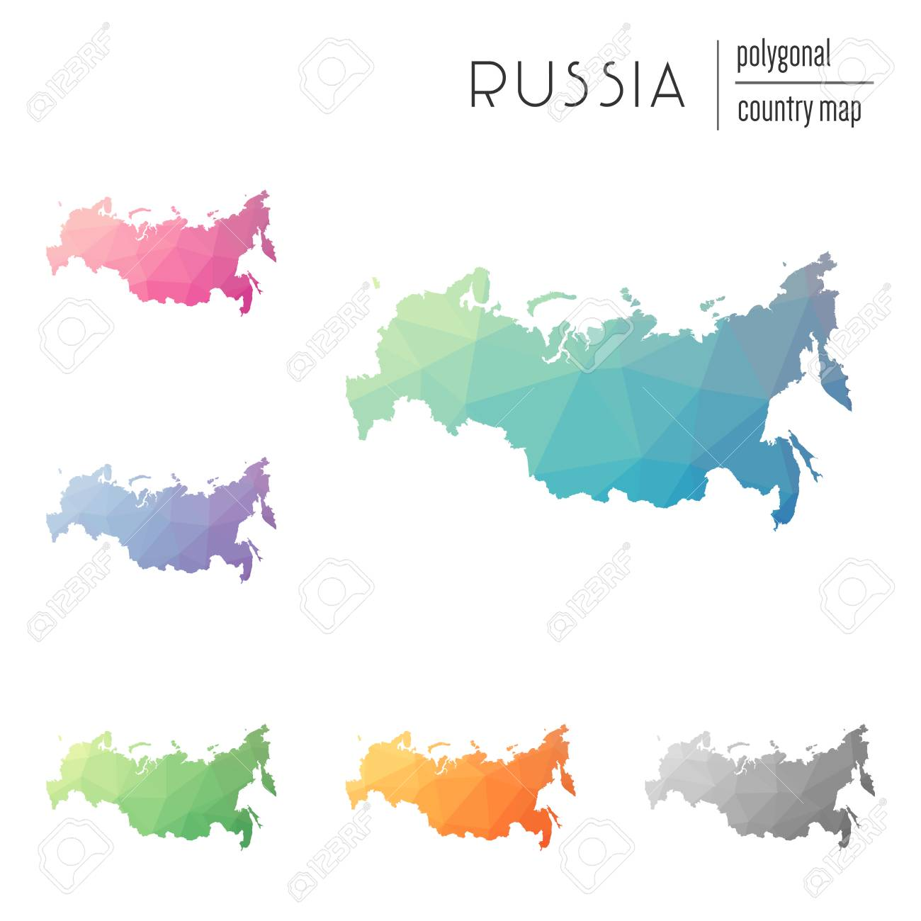 Set Of Vector Polygonal Russian Federation Maps. Bright Gradient ...