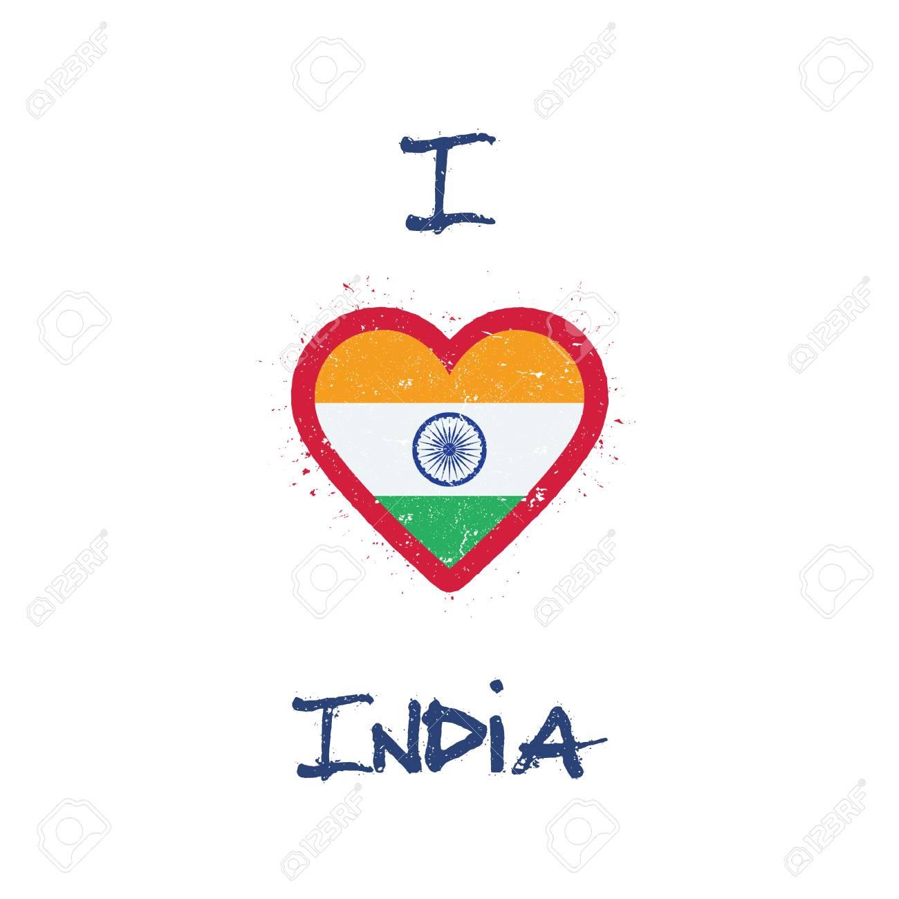Me Encanta El Diseño De Camisetas De India. Bandera India En Forma ...