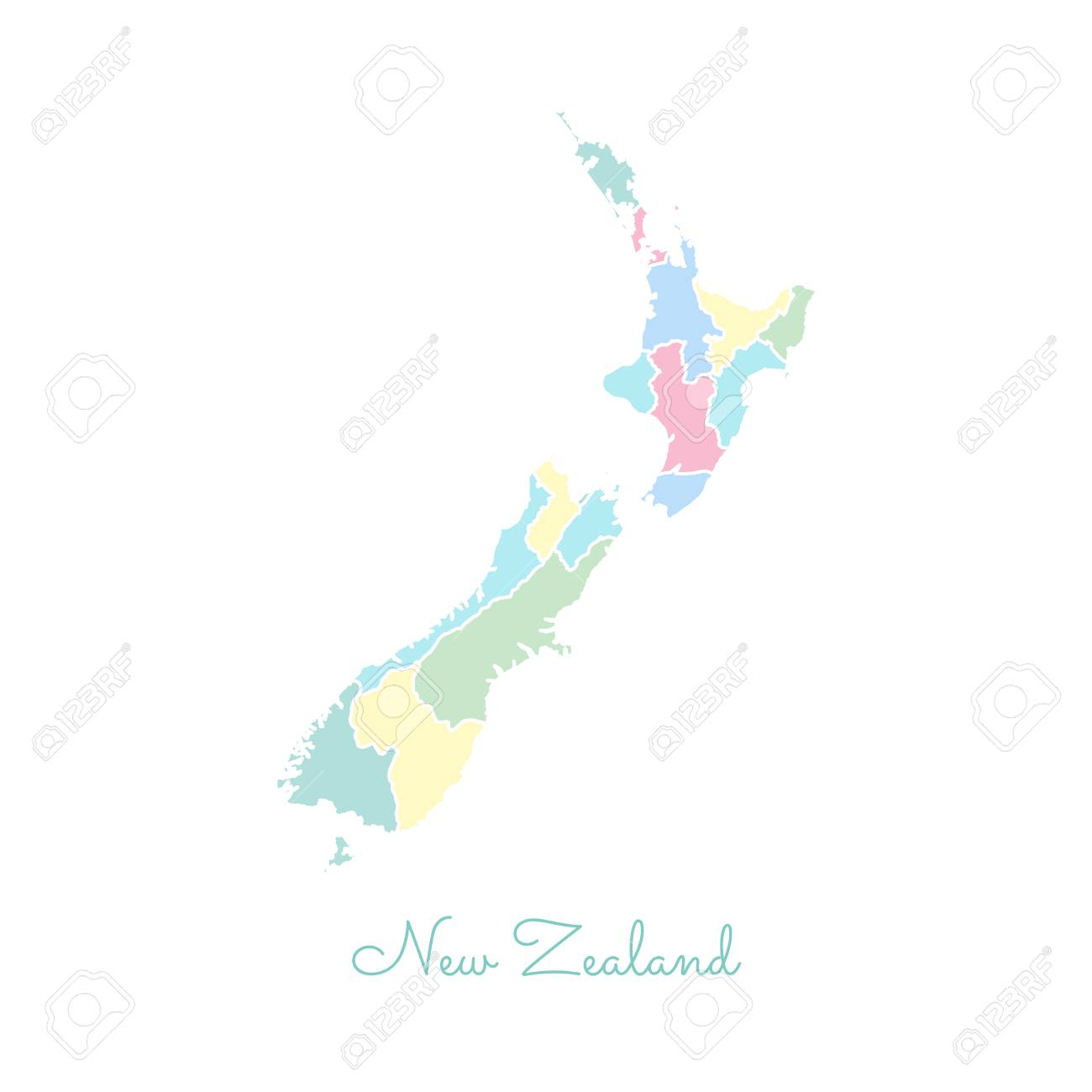 Map New Zealand Regions.New Zealand Region Map Colorful With White Outline Detailed