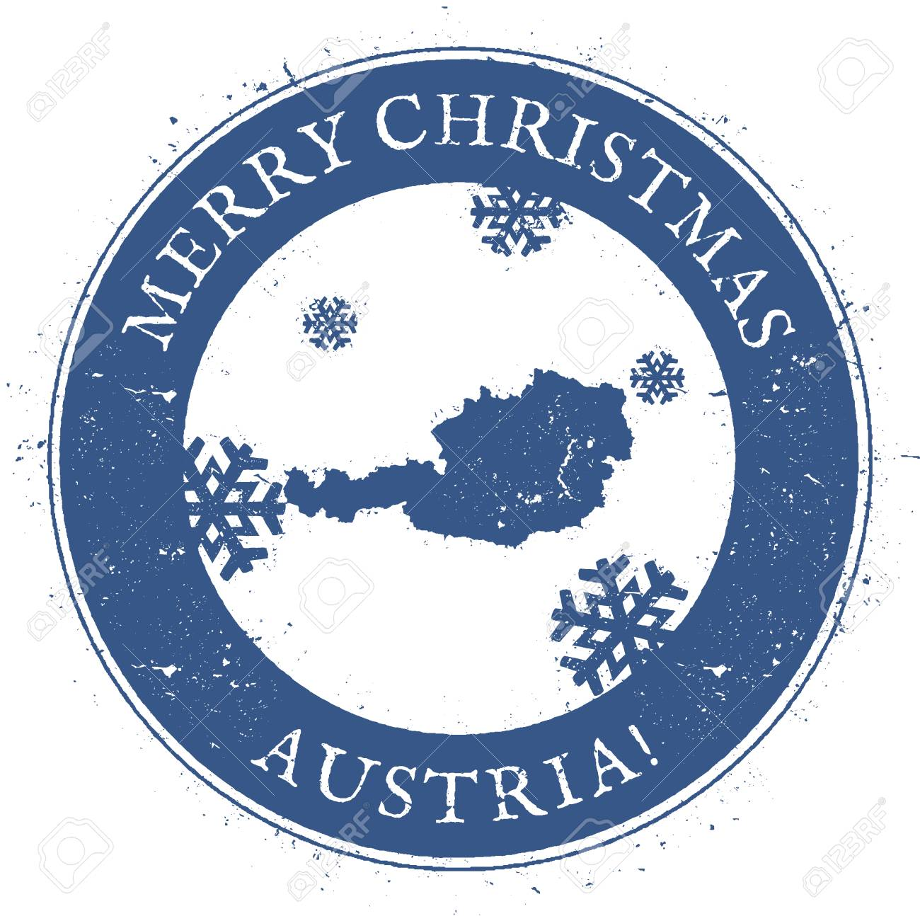 Austria Map Vintage Merry Christmas Stamp Stylised Rubber With County And