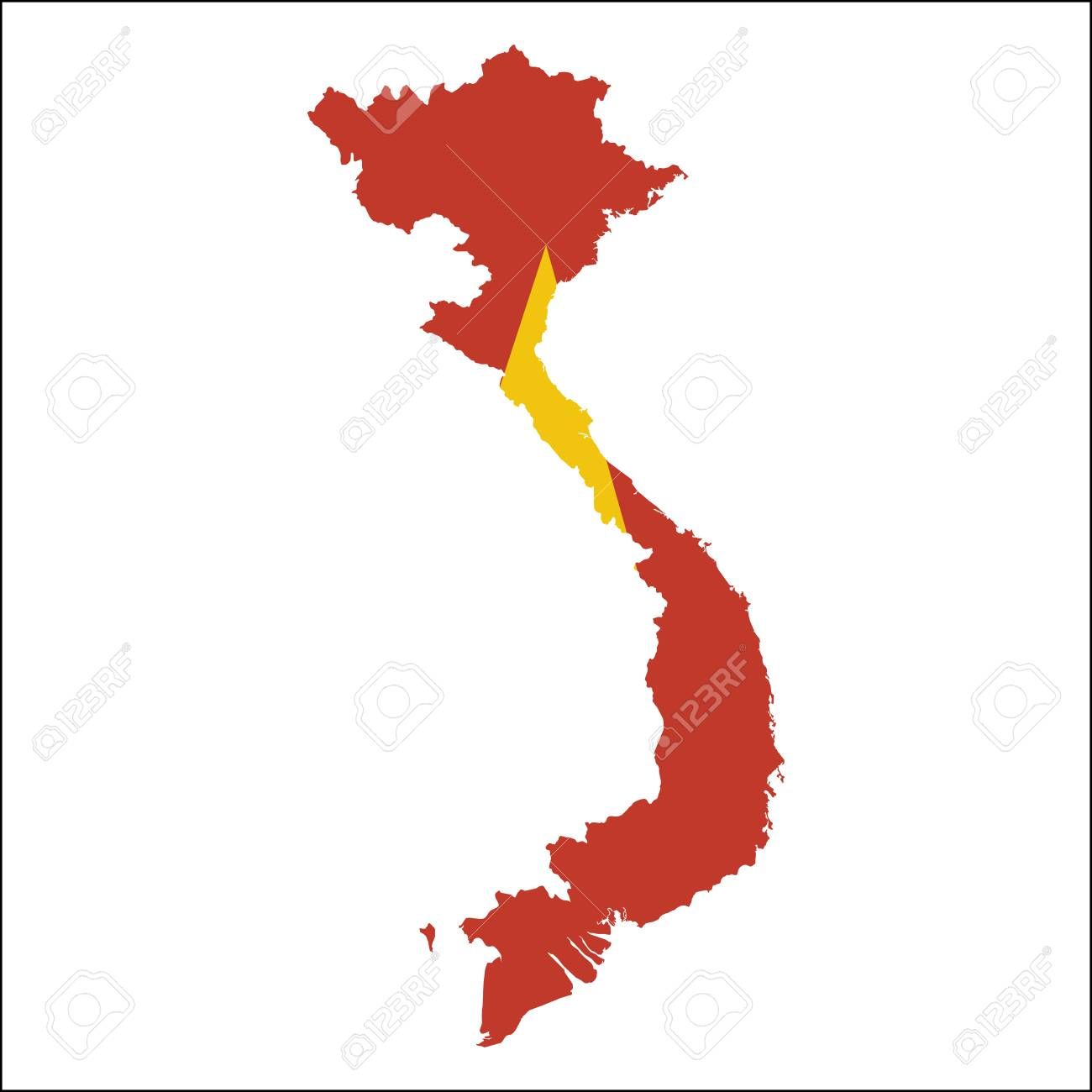 Vietnam high resolution map with national flag  Flag of the country