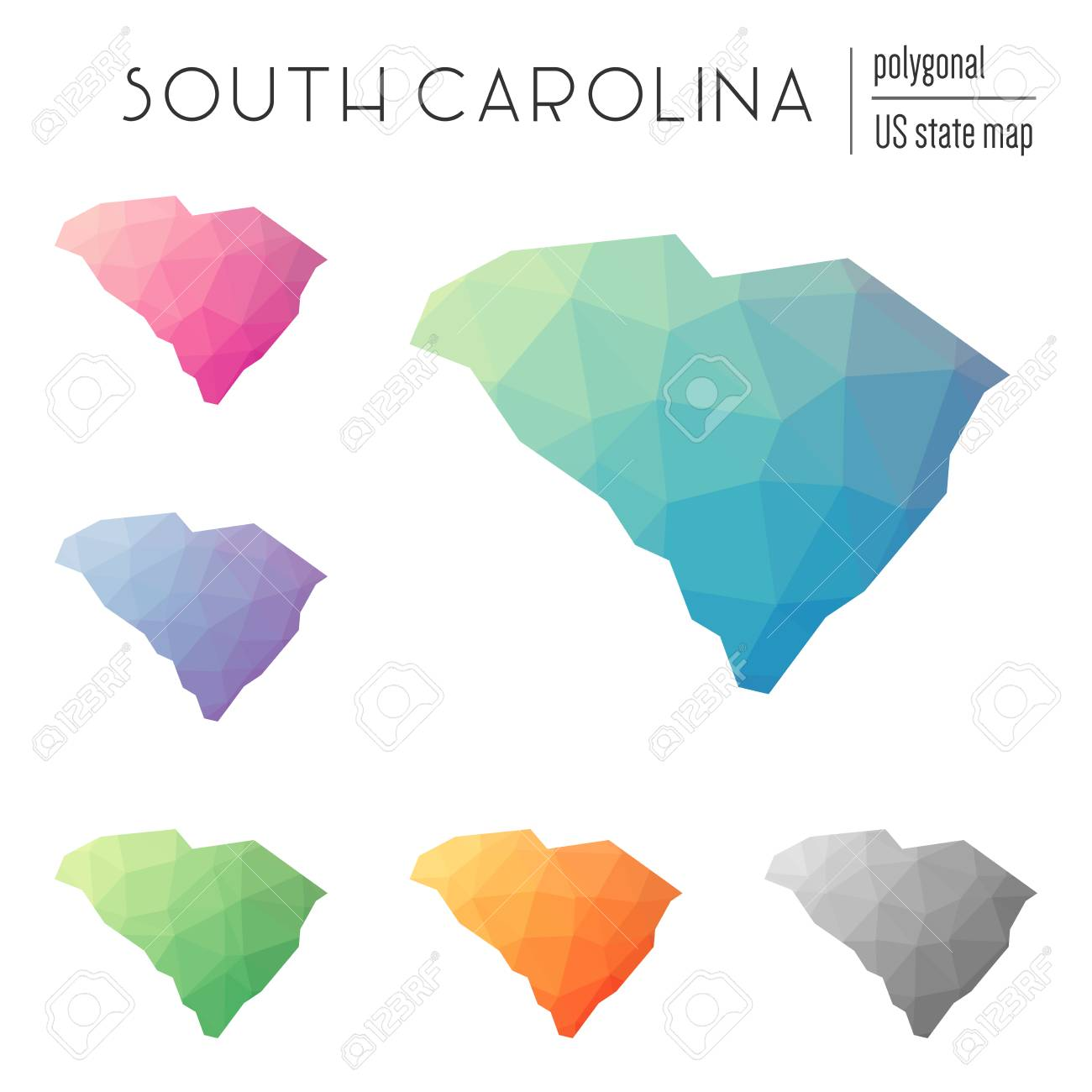 Set Of Vector Polygonal South Carolina Maps Bright Gradient