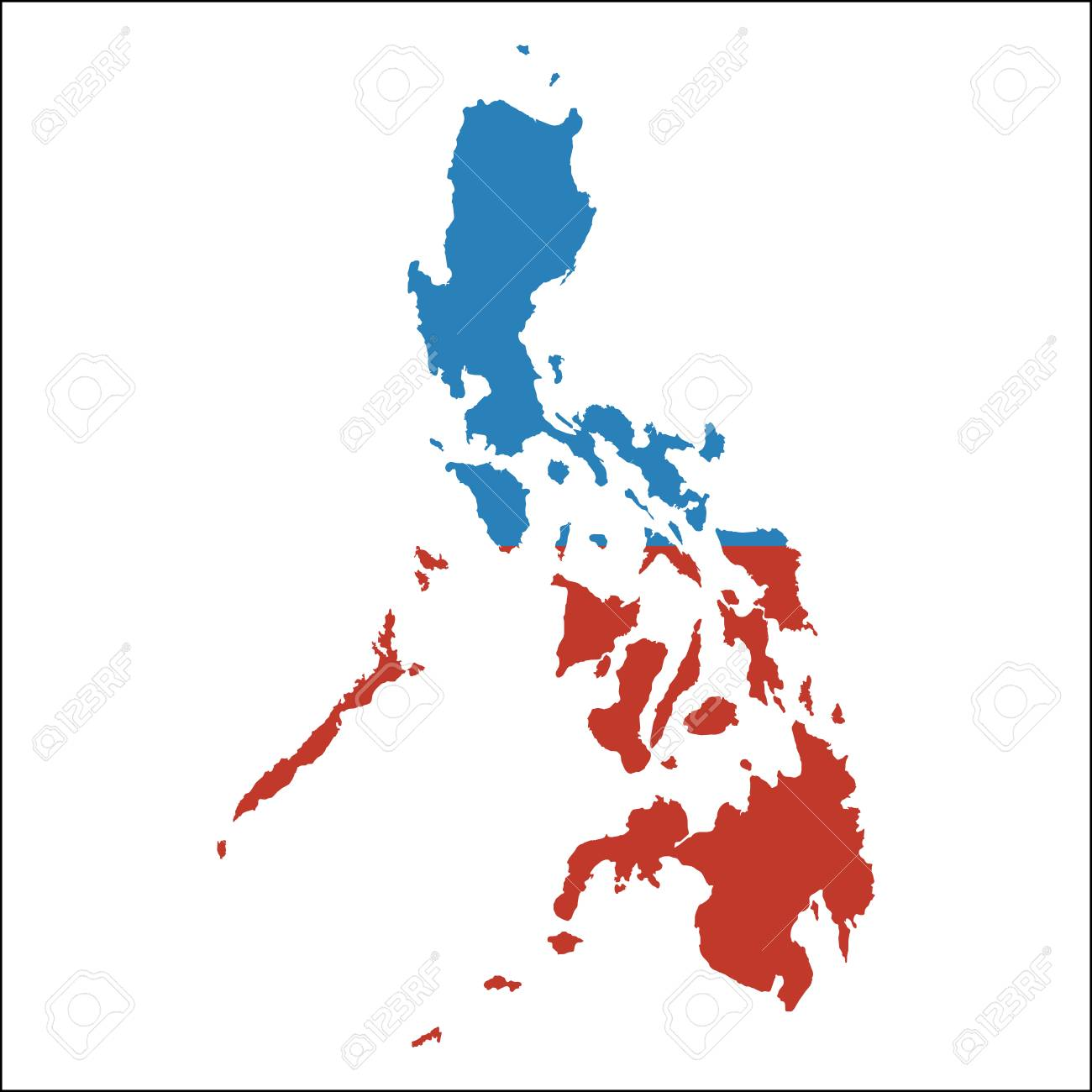 Philippines high resolution map with national flag  Flag of the