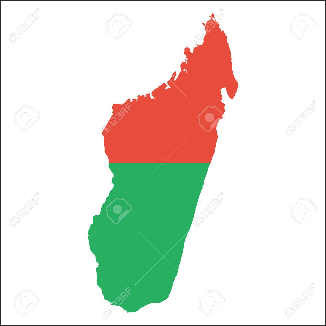 Madagascar High Resolution Map With National Flag Flag Of The - Madagascar map outline