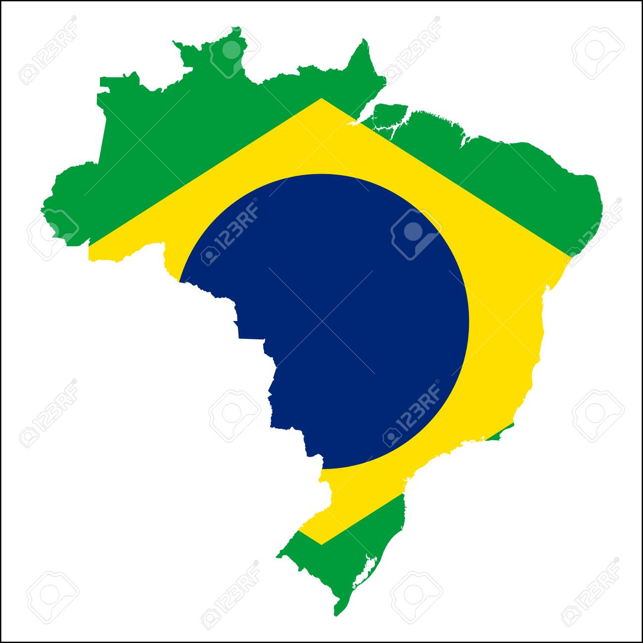 Brazil High Resolution Map With National Flag Flag Of The Country