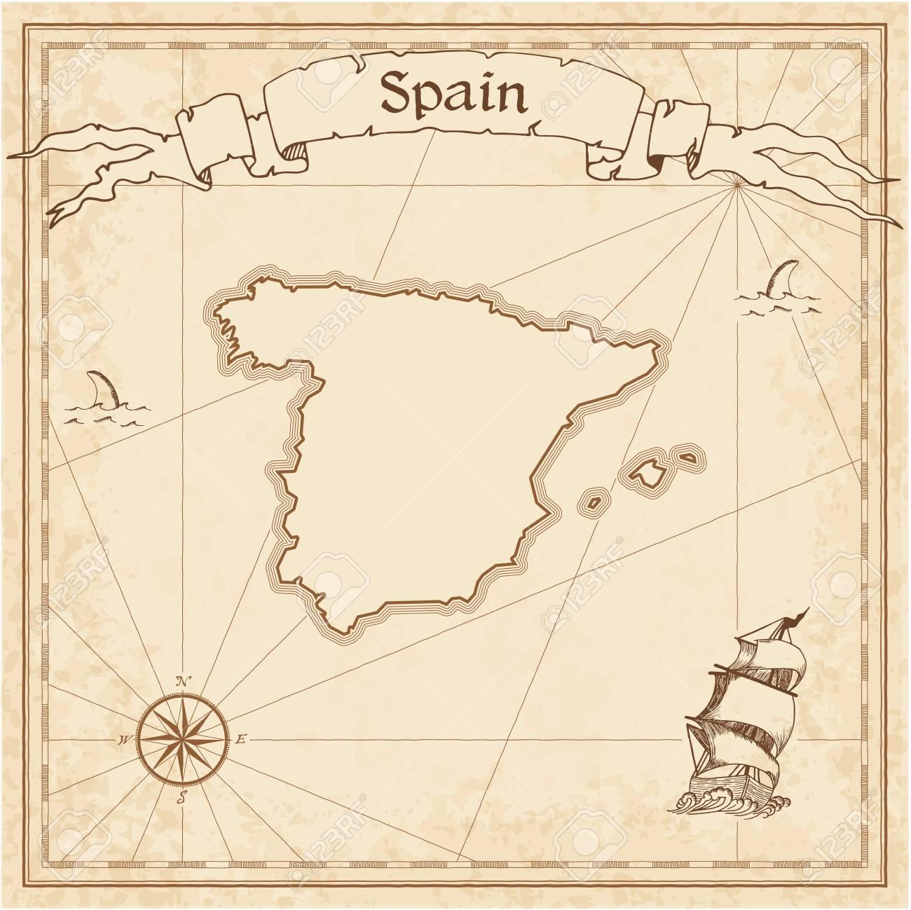 Map Of Spain Old.Spain Old Treasure Map
