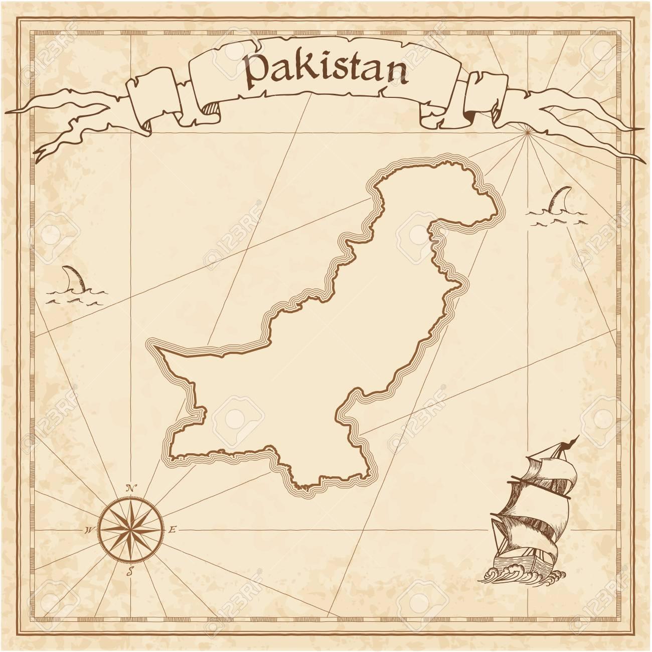 Pakistán Antiguo Mapa Del Tesoro. Sepia Grabada Plantilla De Mapa ...