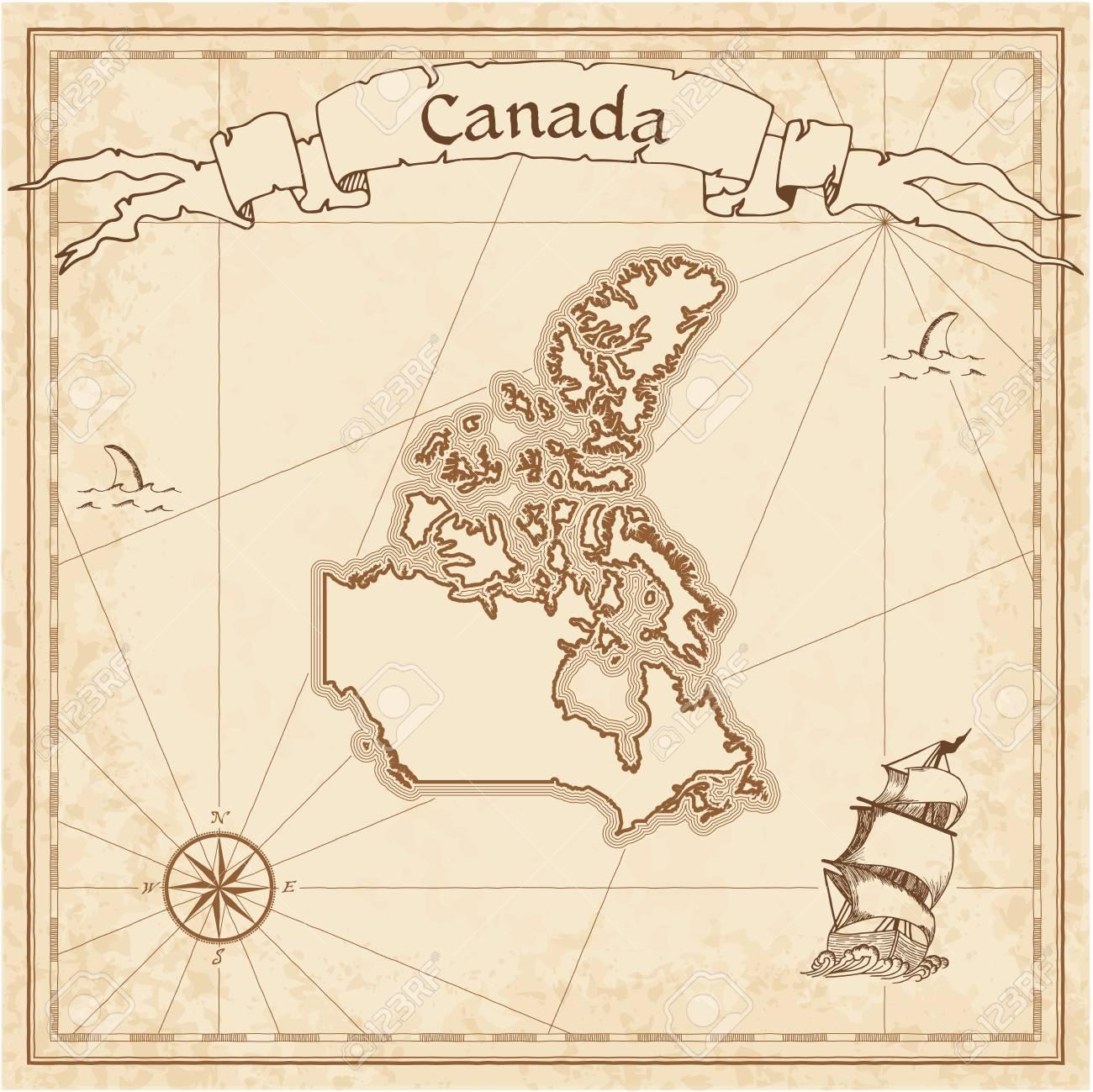 Canadá Antiguo Mapa Del Tesoro. Sepia Grabada Plantilla De Mapa ...