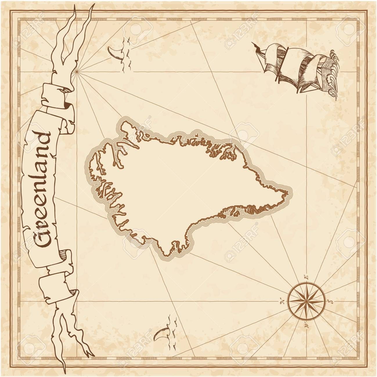 Greenland Old Treasure Map Sepia Engraved Template Of Pirate Stylized On