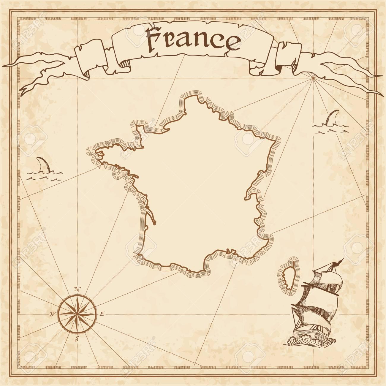 Une Carte Au Tresor En Allemand.Ancienne Carte Au Tresor De France Sepia Grave Modele De Carte Pirate Carte De Pirate Stylisee Sur Papier Vintage