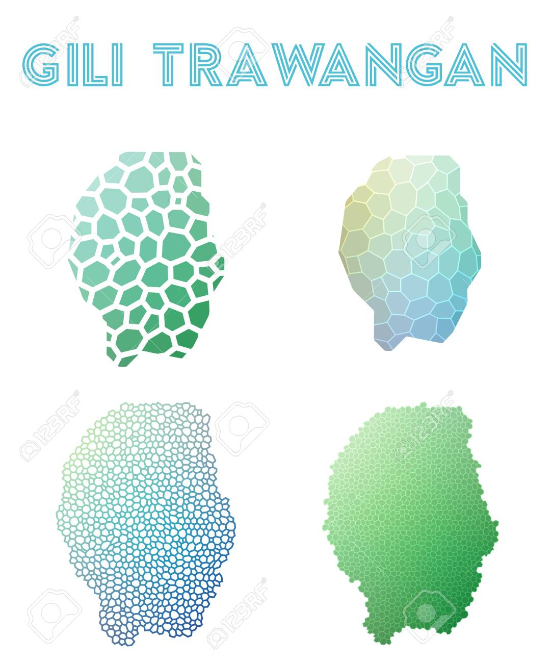 Banco De Imagens   Gili Trawangan Polygonal Island Map. Mosaic Style Maps  Collection. Bright Abstract Tessellation, Geometric, Low Poly, Modern  Design.