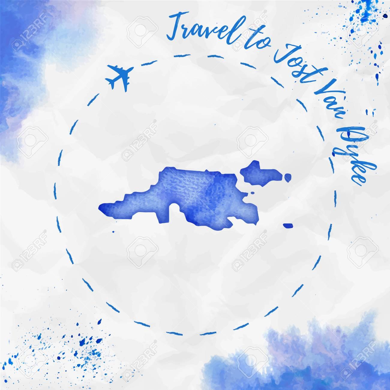 Jost Van Dyke Watercolor Island Map In Blue Colors Travel To