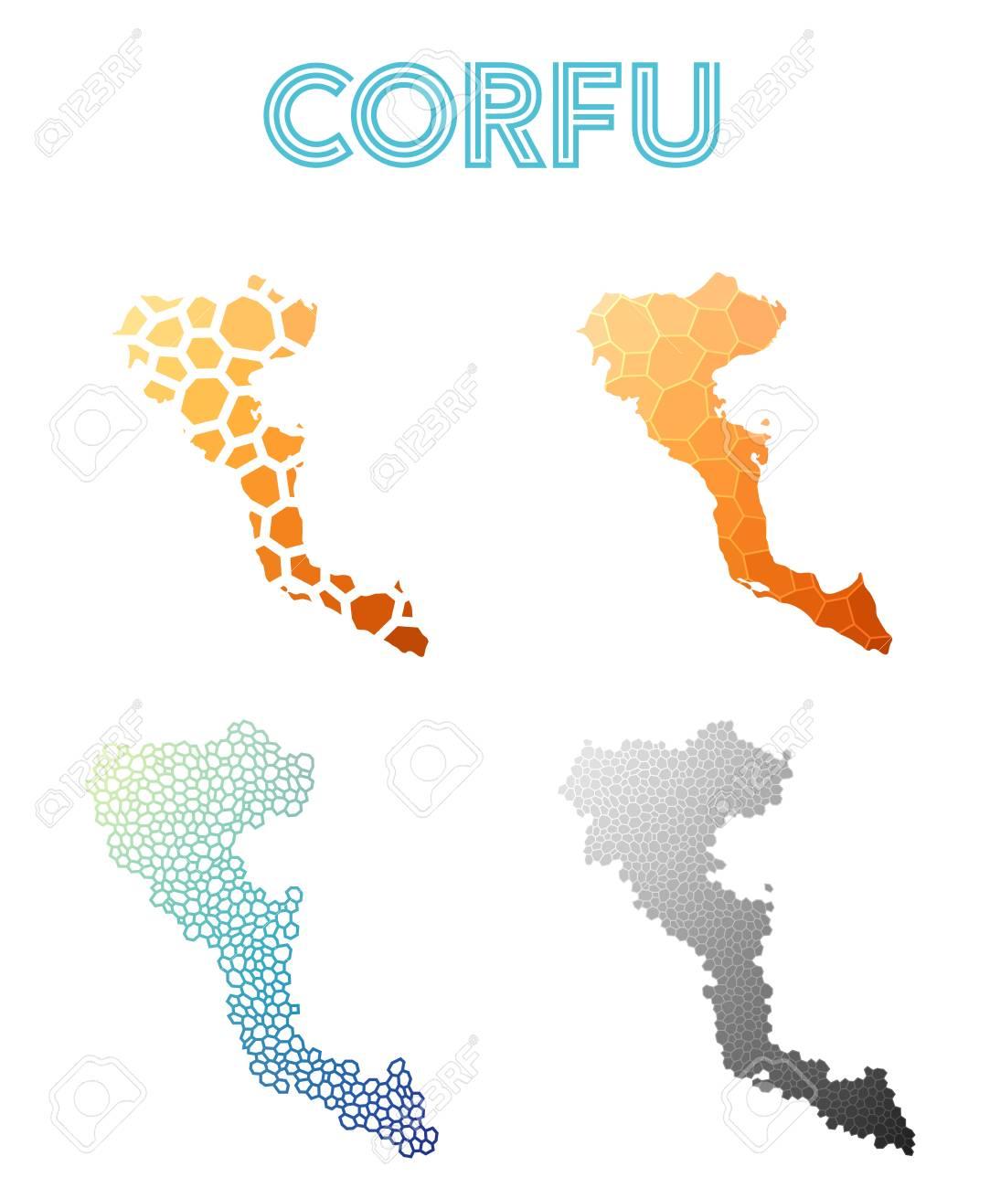 Corfu Polygonal Island Map Mosaic Style Maps Collection Bright