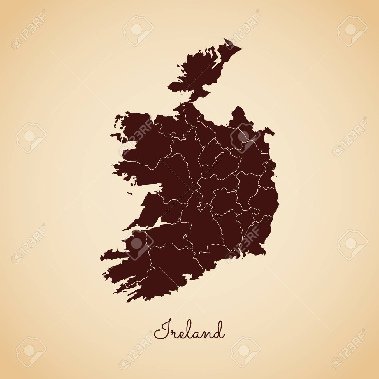 Detailed Map Of Ireland Vector.Ireland Region Map Retro Style Brown Outline On Old Paper