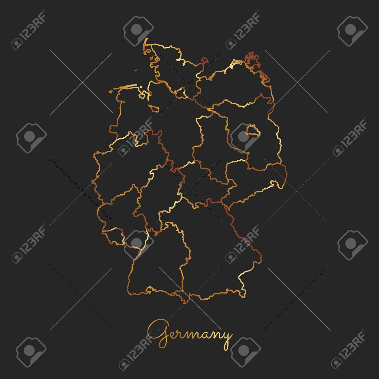 germany region map golden gradient outline on dark background detailed map of germany regions